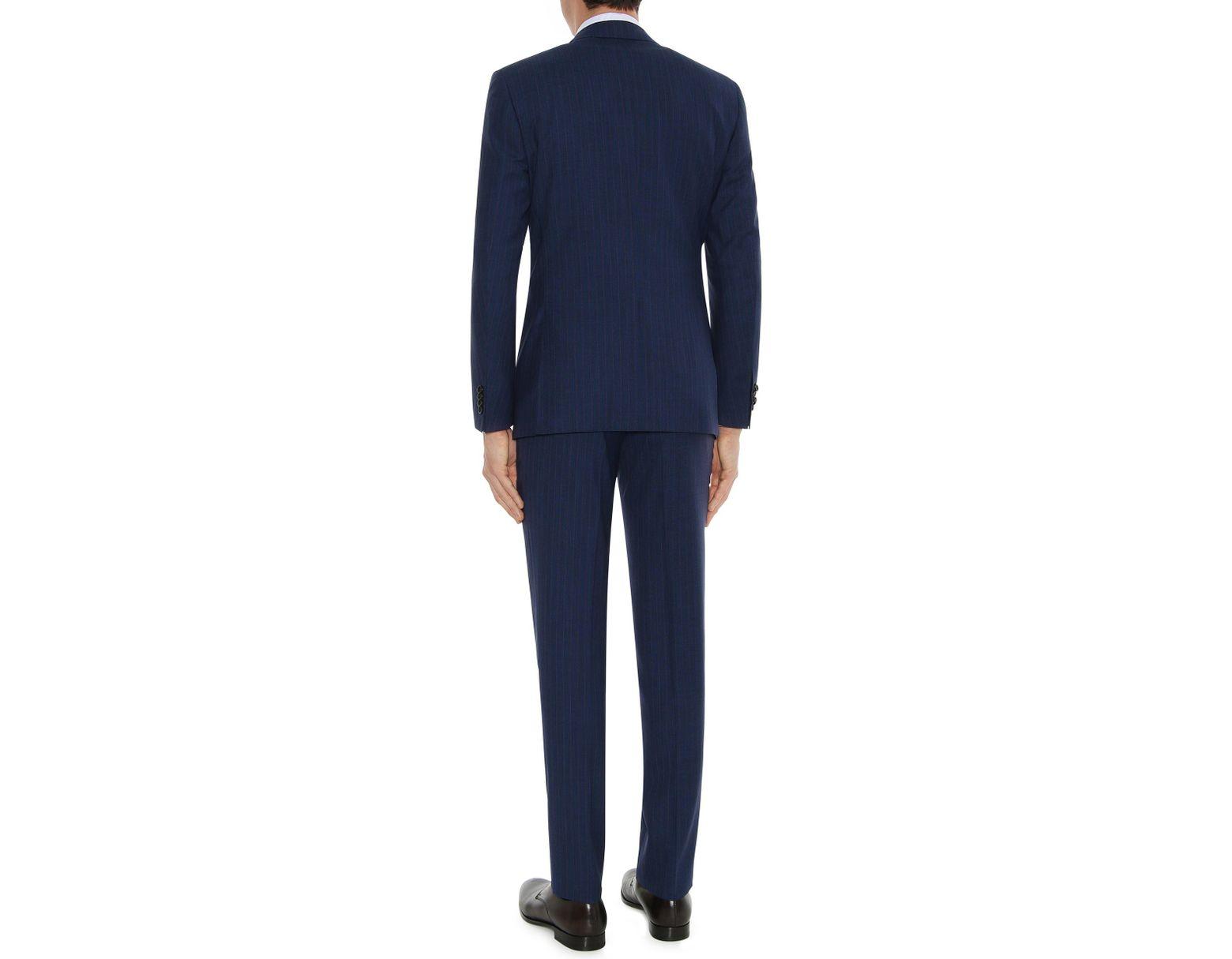 7ffa6399 Men's Navy Blue Impeccabile Wool Pinstripe Milano Suit