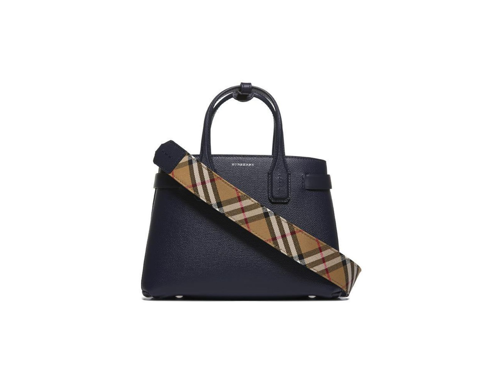 6a851cdd16b3 Women's Regency Blue Check Vintage Banner Grained Leather Tote Bag