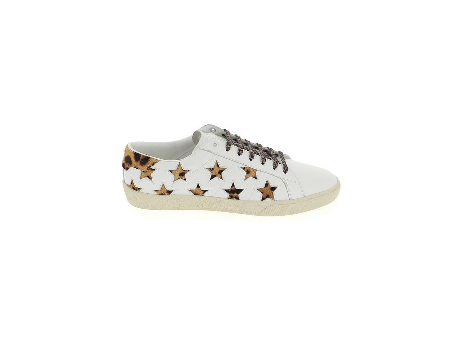 410bfb3e280 Saint Laurent Leopard Print Star Court Classic Sneakers in White for Men -  Save 60% - Lyst