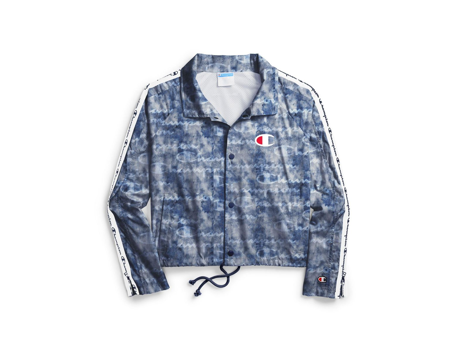4f0dc5082 Women's Blue Zipper Tape Cropped Coaches Jacket