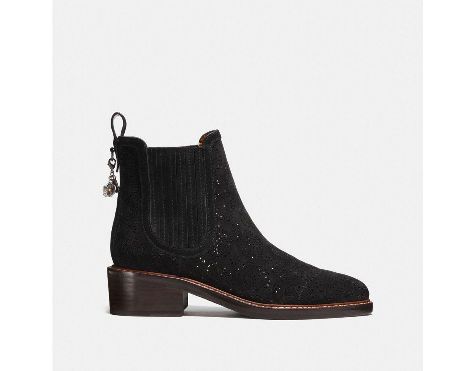 43888575aa COACH Bowery Chelsea Boot With Cut Out Tea Rose in Black - Save 21 ...