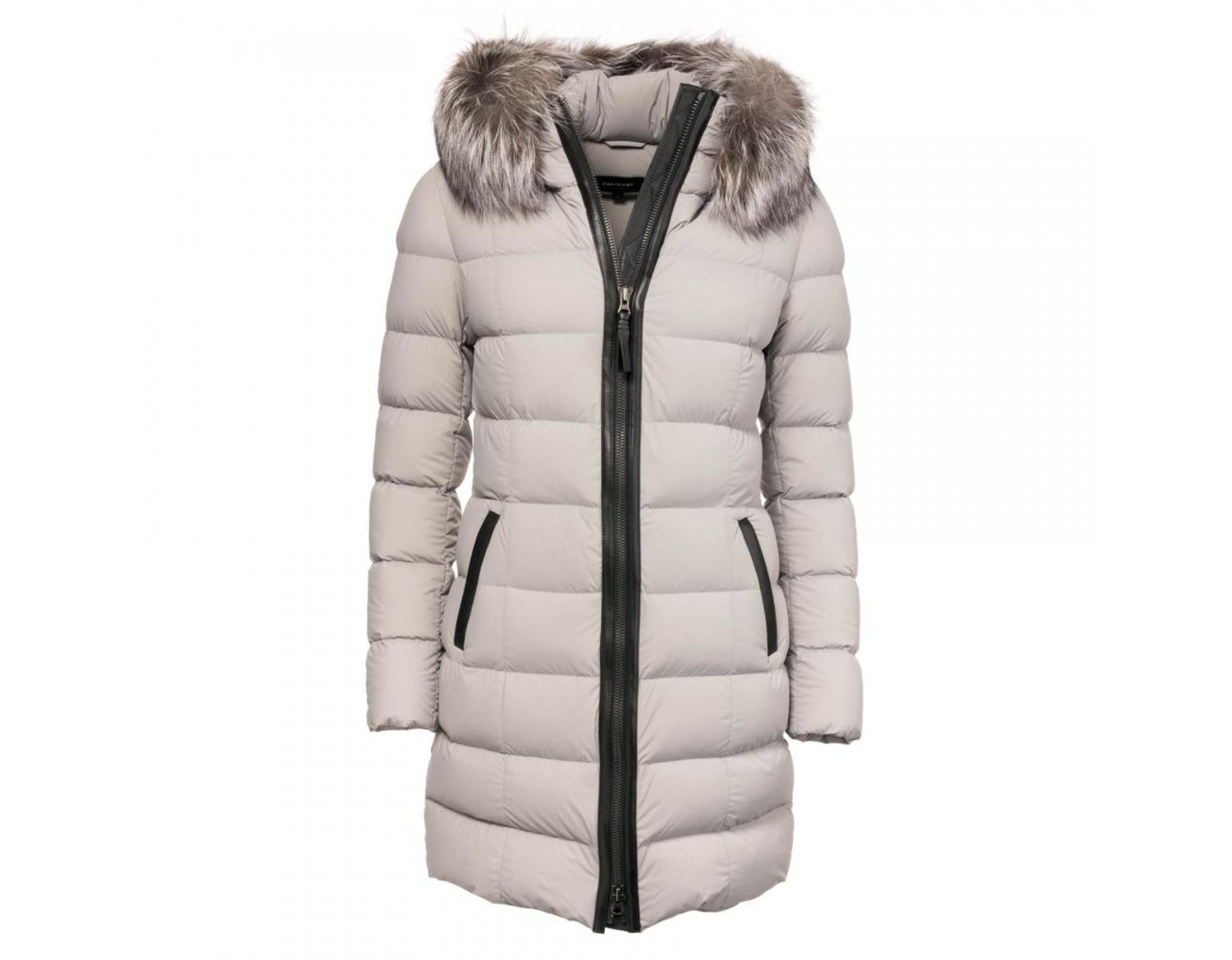774673931d3 Women's Gray Calla Lightweight Down Coat With Fur Trimmed Hood In Mineral