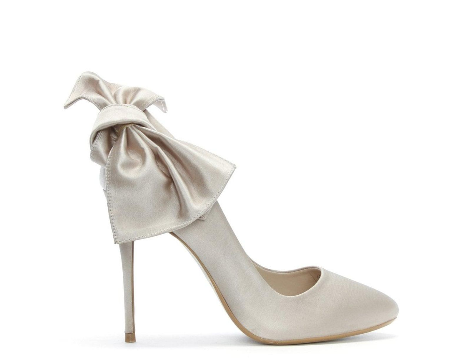 Mink White Women's Bow Shoes Satin Court 1F3lucTKJ