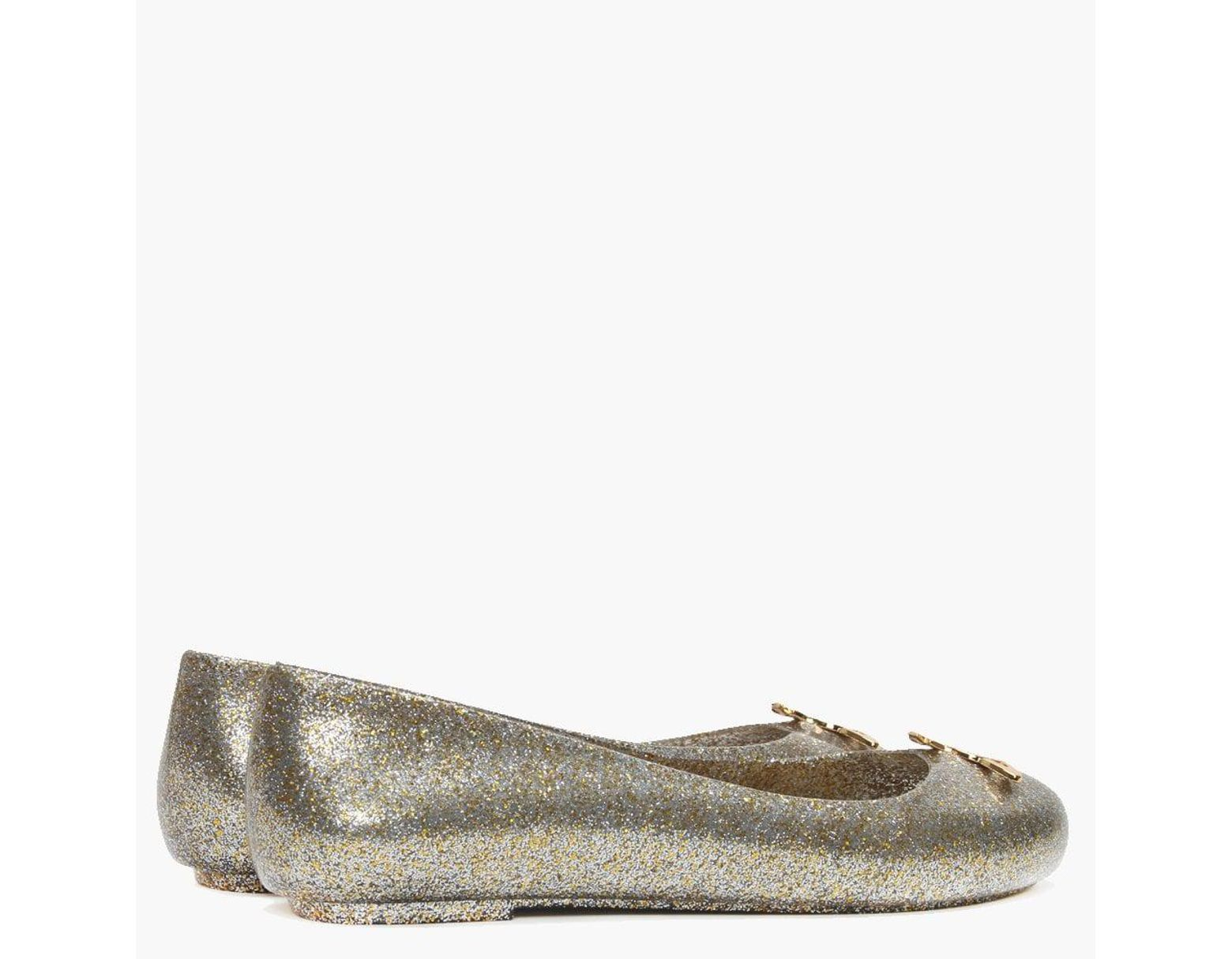99791c2b2a0 Vivienne Westwood X Melissa Space Love 21 Gold Metallic Glitter Orb Ballet  Pumps in Metallic - Lyst