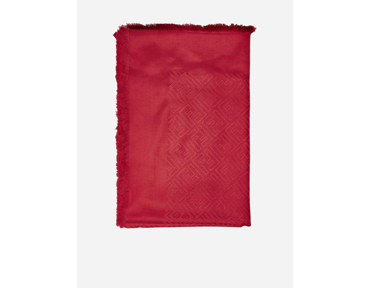 85e59beb1e Women's Red Ff Motif Wool And Silk Blend Shawl
