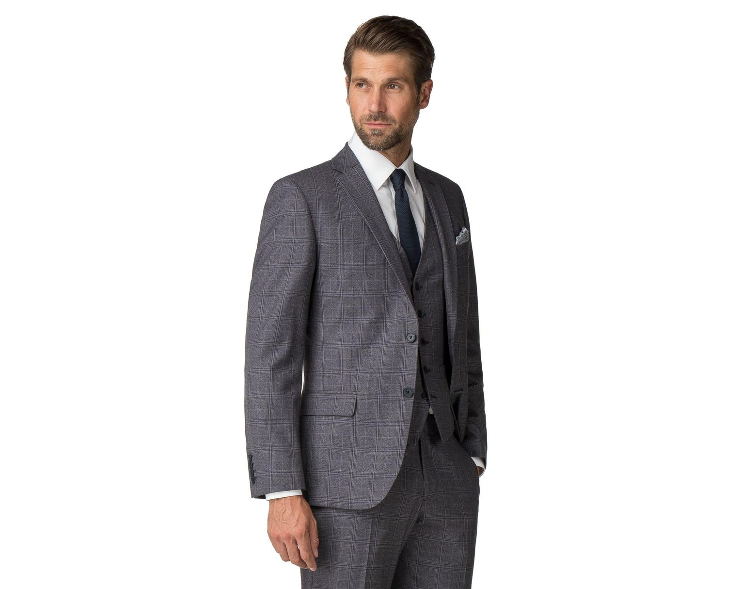 b17002073 Men's Blue Airforce Textured Check Tailored Fit Suit Jacket