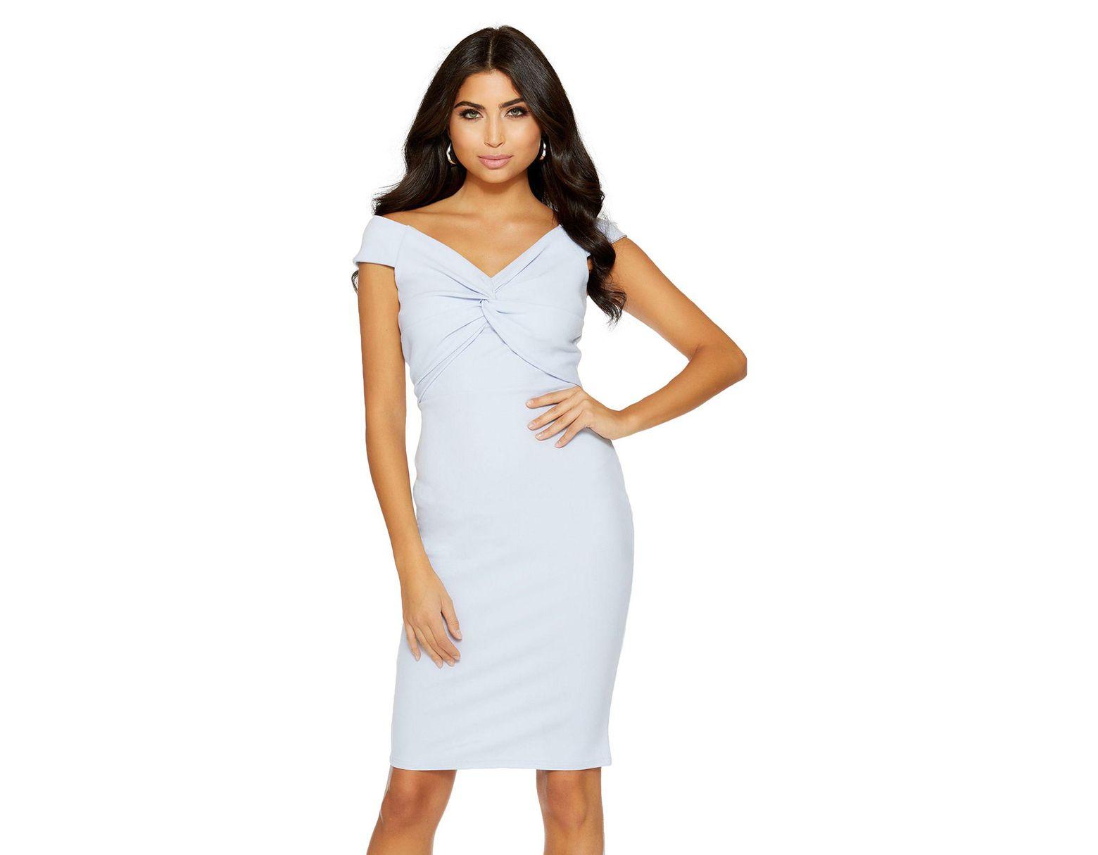 f0f35895c965 Quiz Pale Blue Crepe Bardot Knot Front Midi Dress in Blue - Lyst