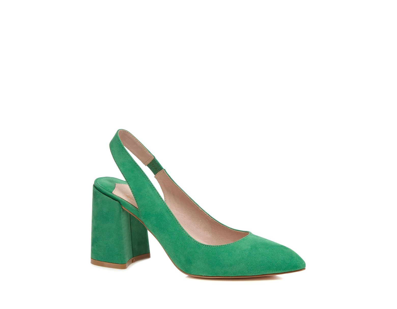 90a8b7e7ca Faith Green Suedette 'craig' High Block Heel Slingbacks in Green - Lyst
