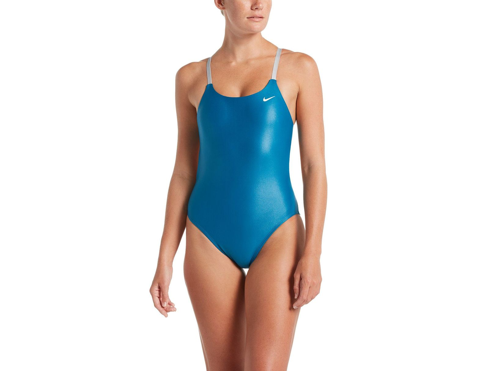 a7d0dbe87ec32 Nike Flash Bonded Cut-out One Piece Swimsuit in Blue - Lyst