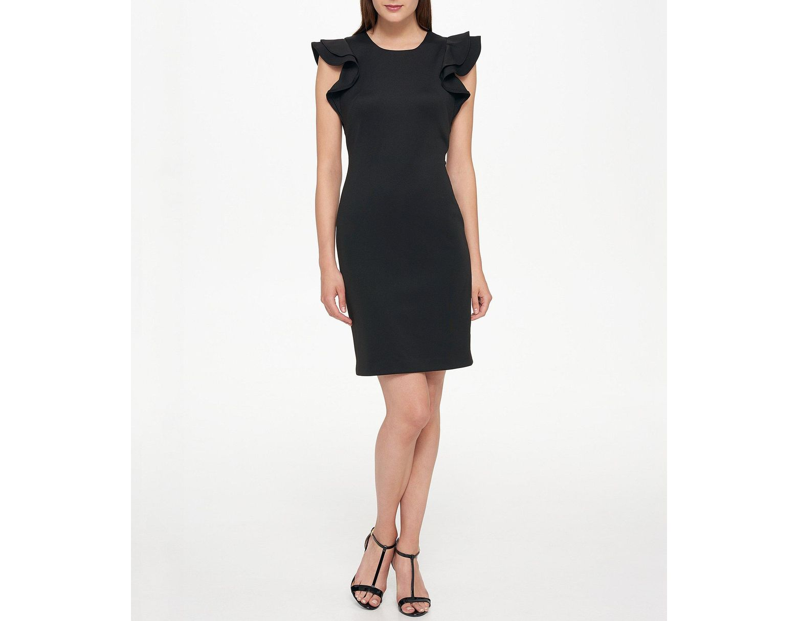 11feb4775 Tommy Hilfiger Scuba Flutter Ruffle Cap Sleeve Sheath Dress in Black - Lyst