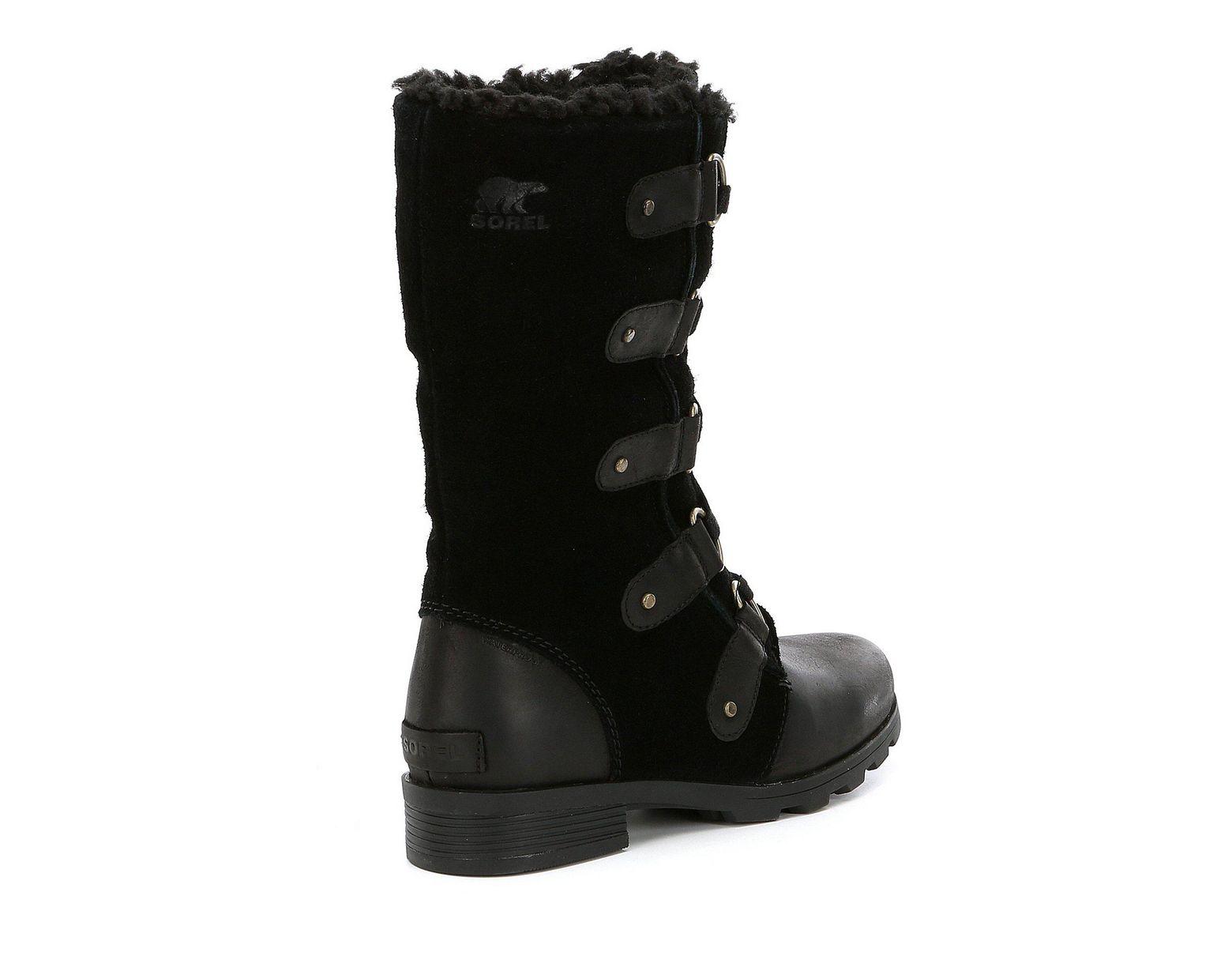 cb288b3b5e6 Black Women's Emelie Lace Mid Winter Waterproof Faux Fur Block Heel Boots