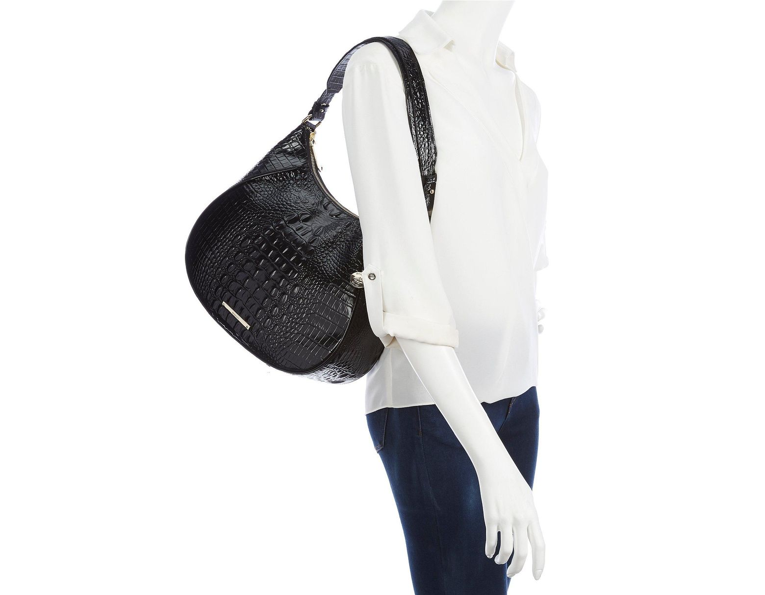 cac0235d3ca6 Brahmin Melbourne Collection Amira Crocodile-embossed Hobo Bag in Black -  Lyst