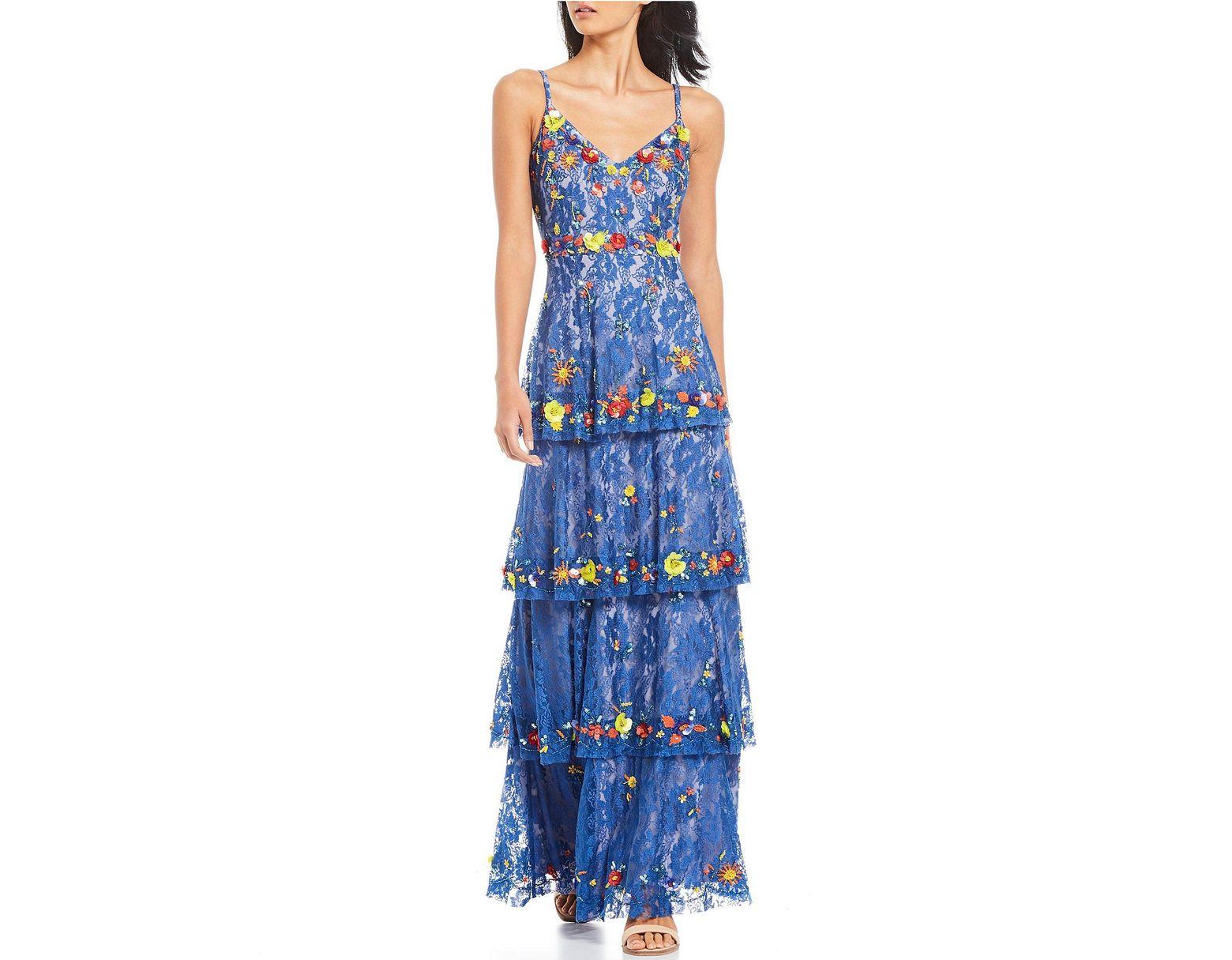 dcd256cc73aa6 Women's Blue Dani Floral Beaded Sequin Detail Ruffle Tiered Lace Maxi Dress