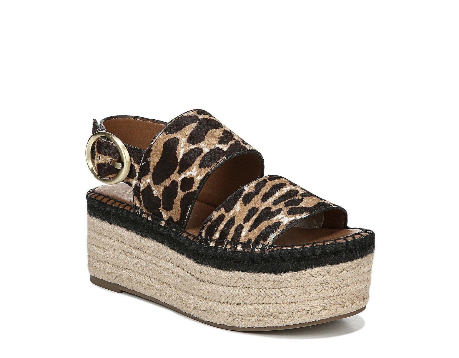 a423583508d Women's Brown Sarto By Mariana Leopard Print Calf Hair Espadrille Flatform  Sandals