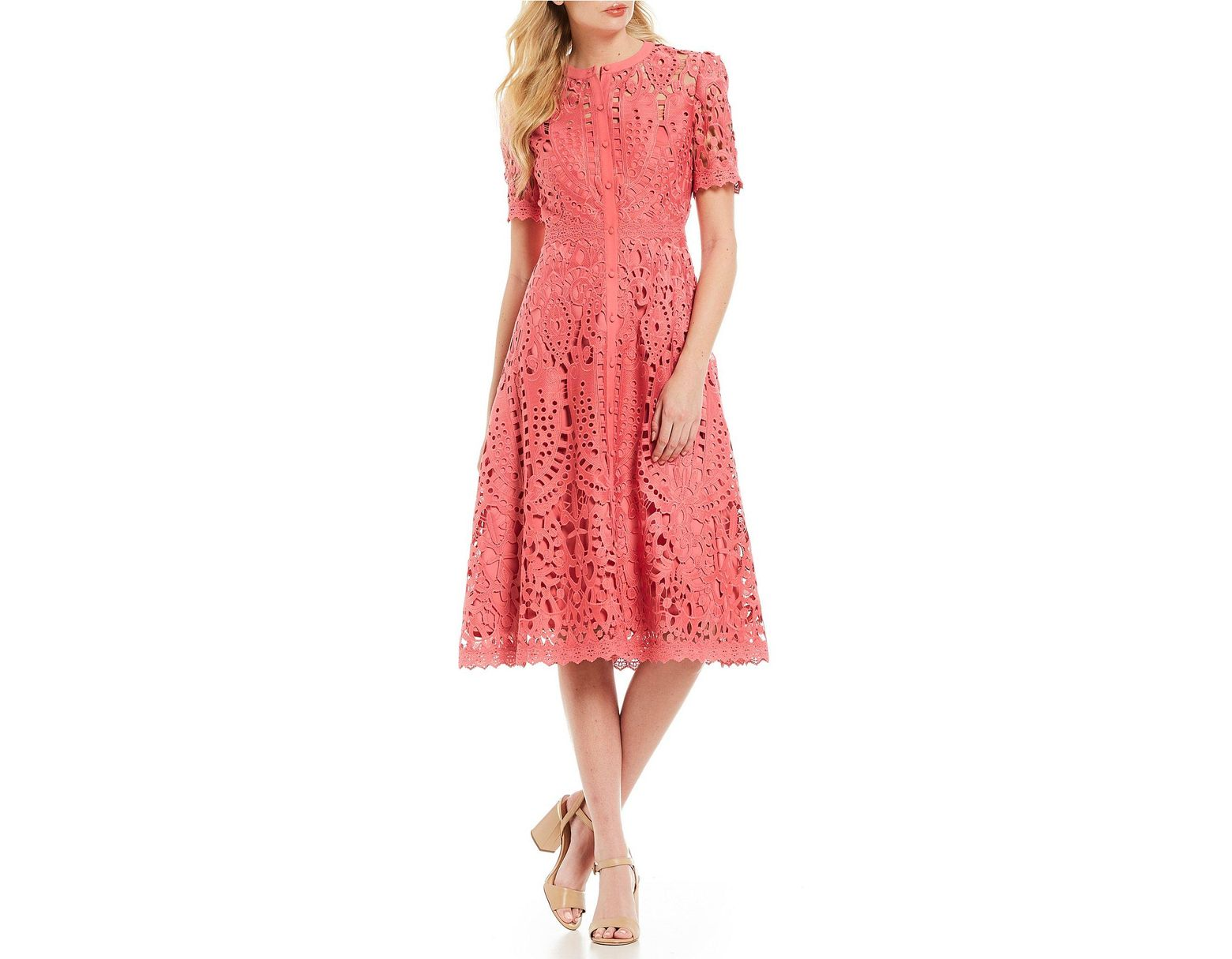 9bebd2216d2 Antonio Melani Ada High Neck Lace A-line Midi Dress in Pink - Lyst