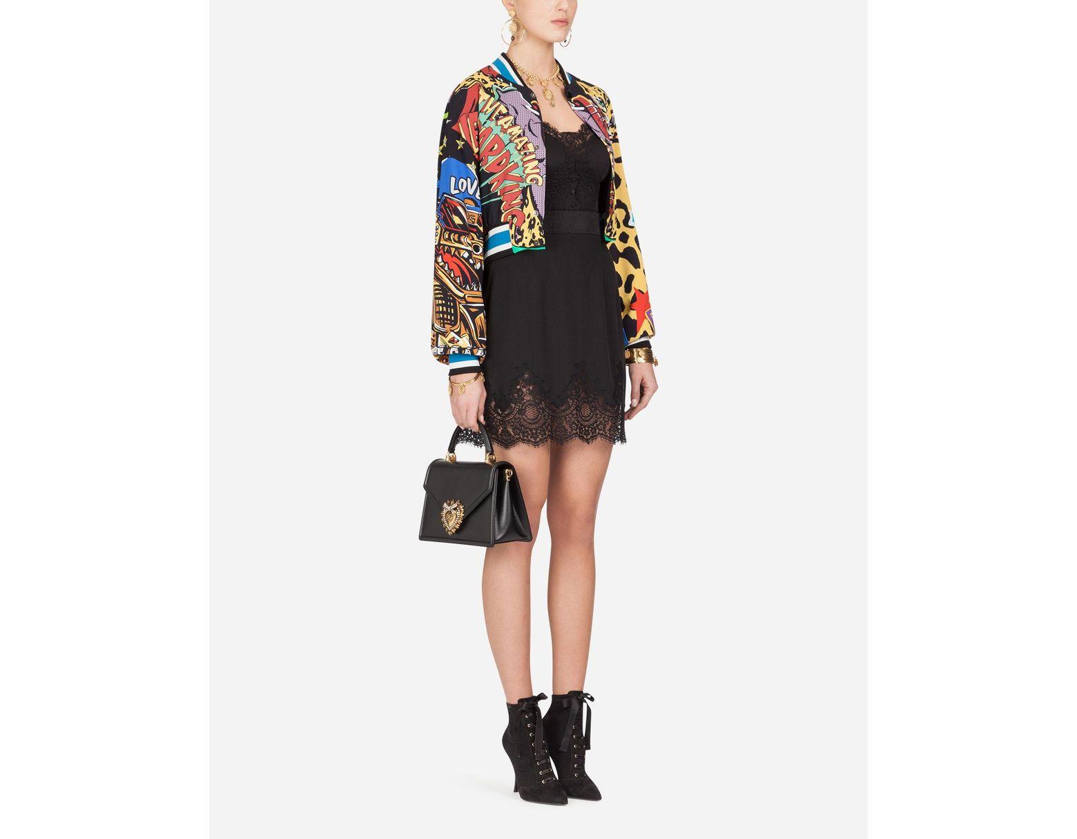 fcc3d4cb087 Dolce & Gabbana Short Cady Bomber Jacket With Super Heroine Print - Lyst