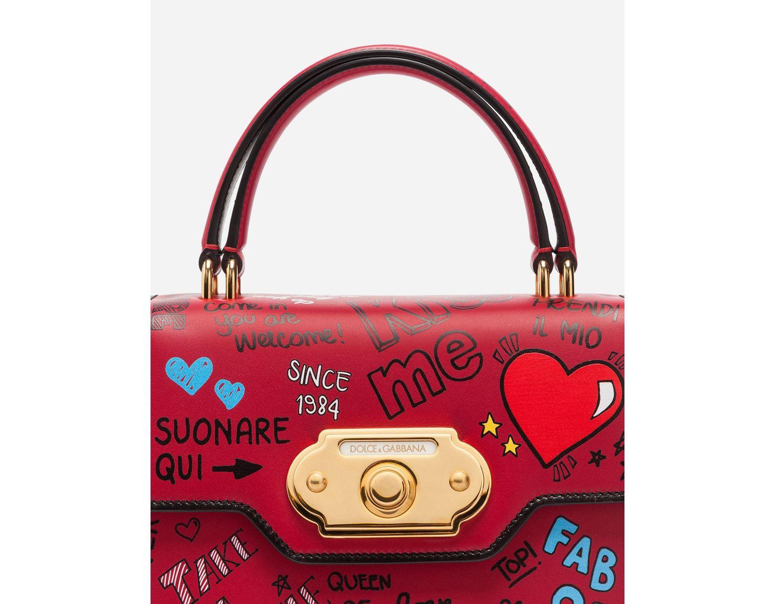 162460935659 Lyst - Dolce   Gabbana Mural-print Calfskin Welcome Handbag in Red