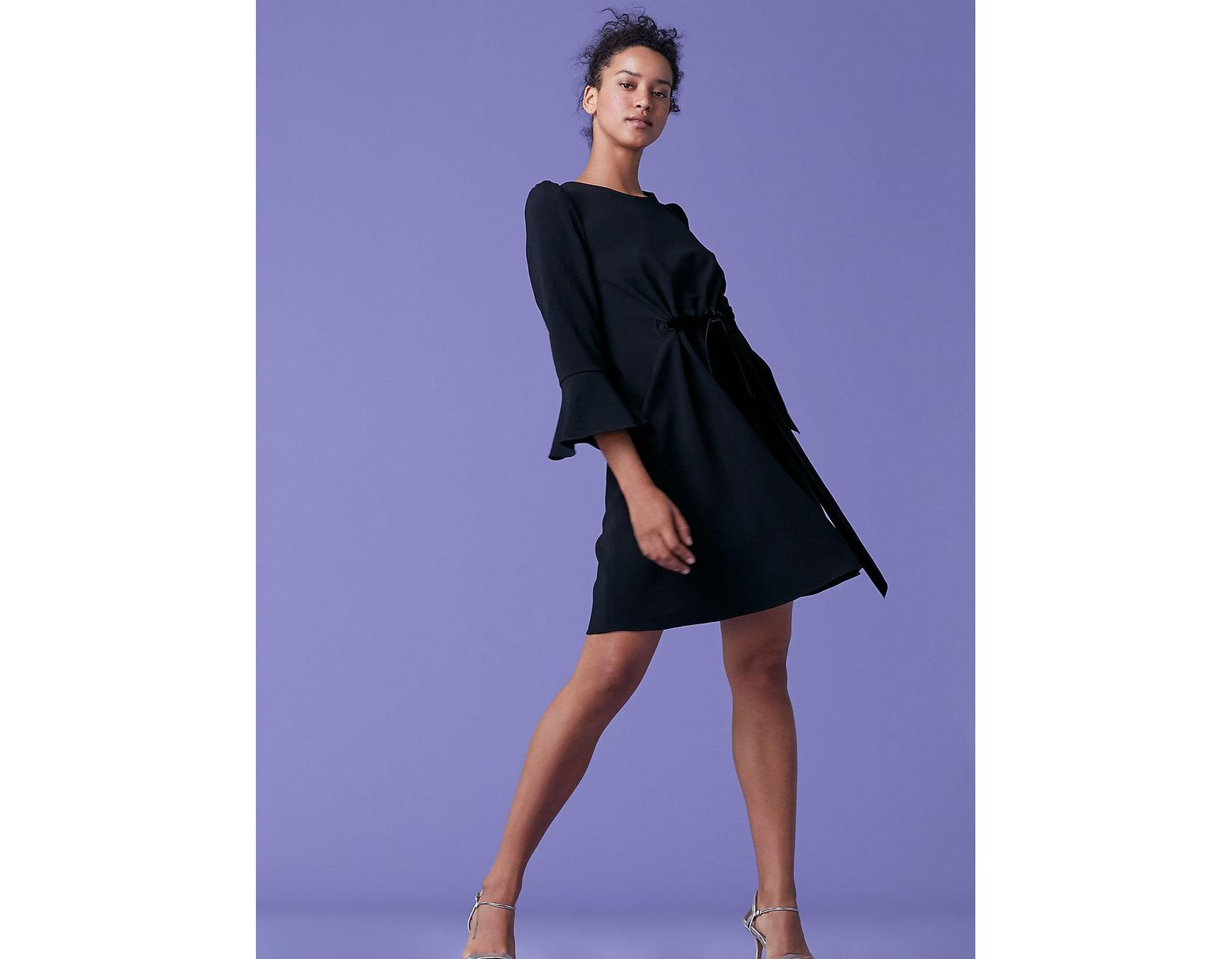 e6f116e587c Diane von Furstenberg Augustine Front Tie Dress in Black - Lyst