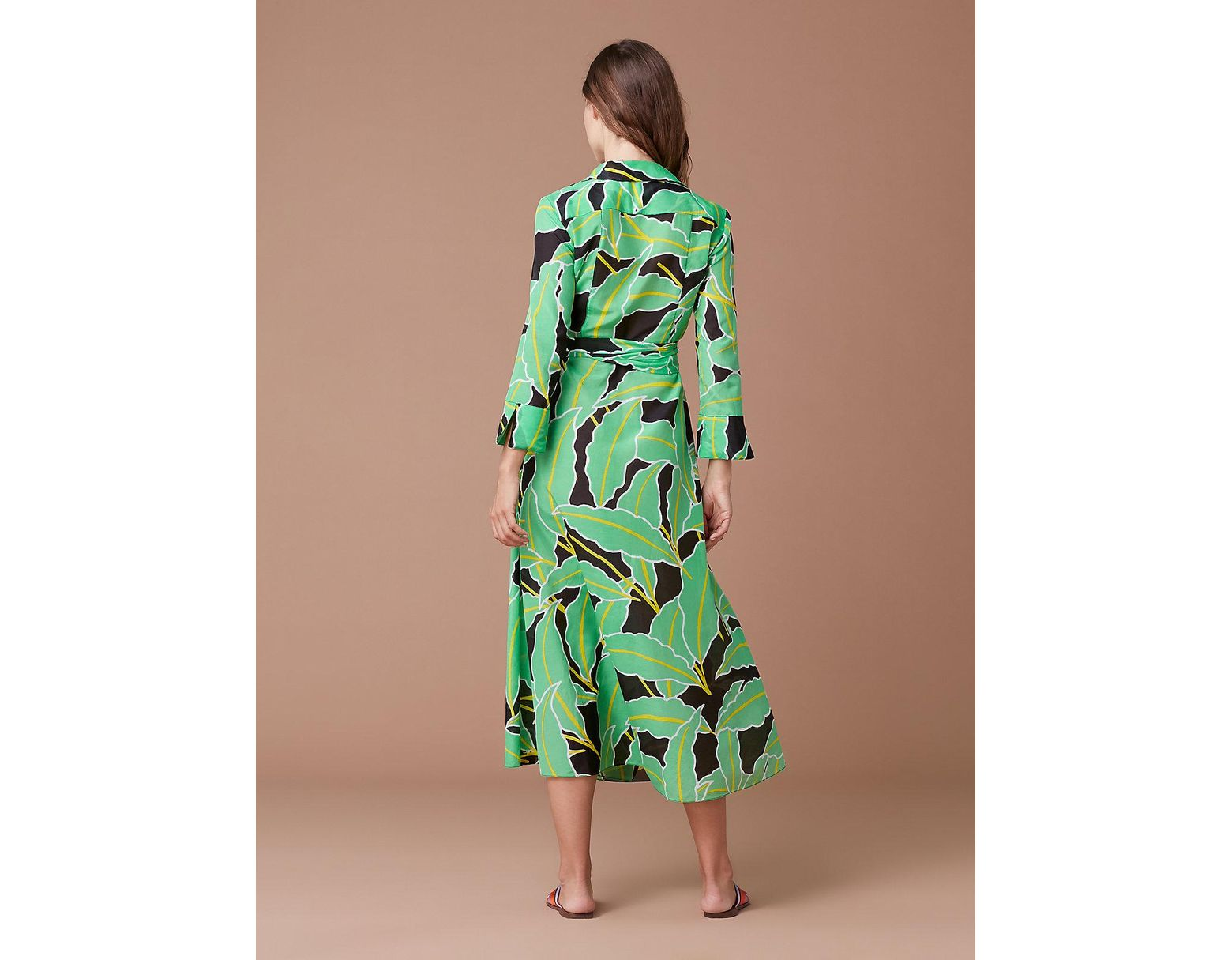 ab4e721a5c Diane von Furstenberg Collared Wrap Dress Cover-up in Green - Save 40% -  Lyst