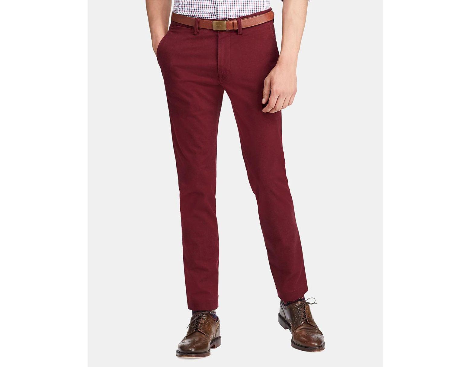 Slim Red Chinos Men's Fit Maroon qzSUVMp