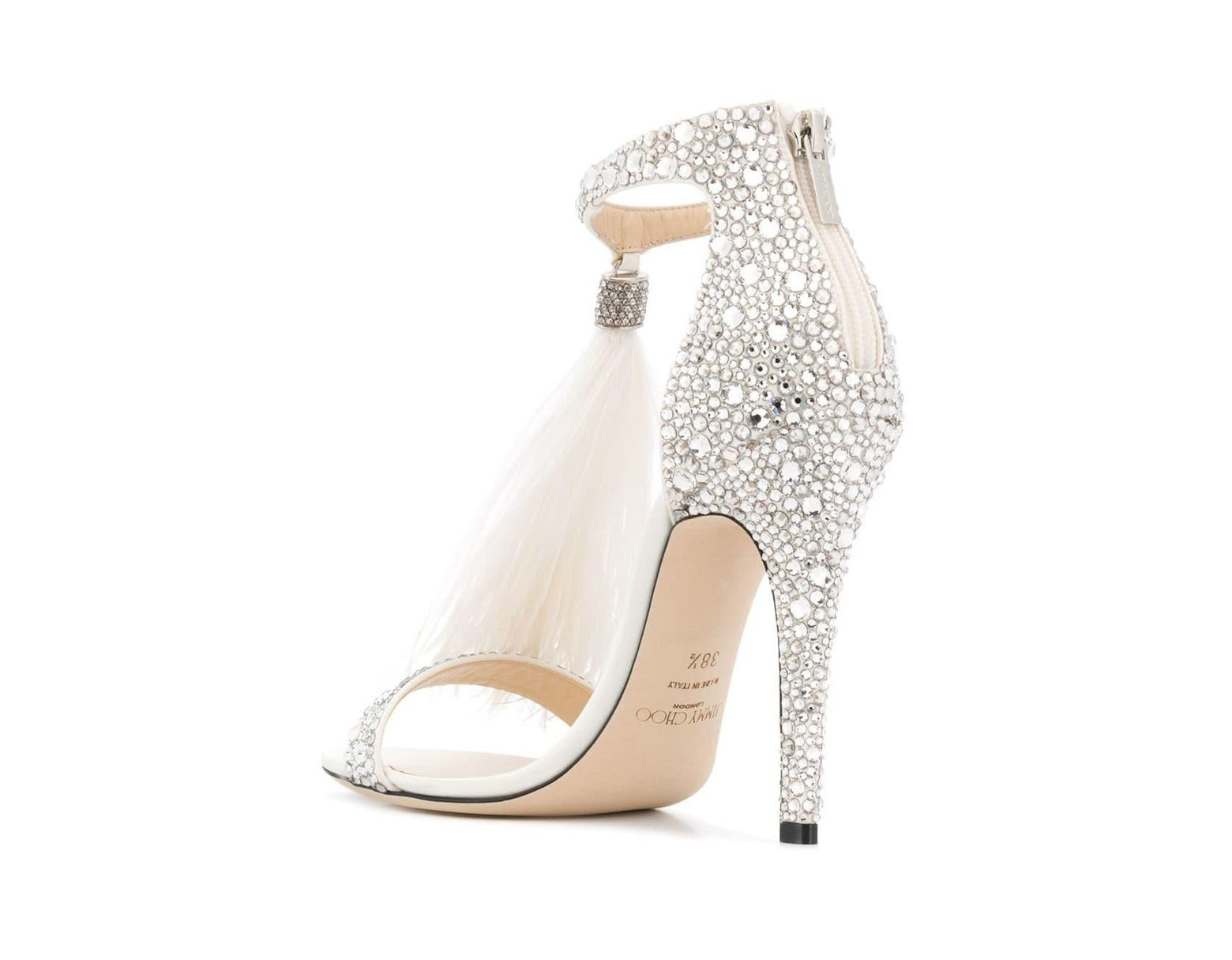ed91cf07c45 Jimmy Choo Encrusted Details Sandals in White - Save 20% - Lyst