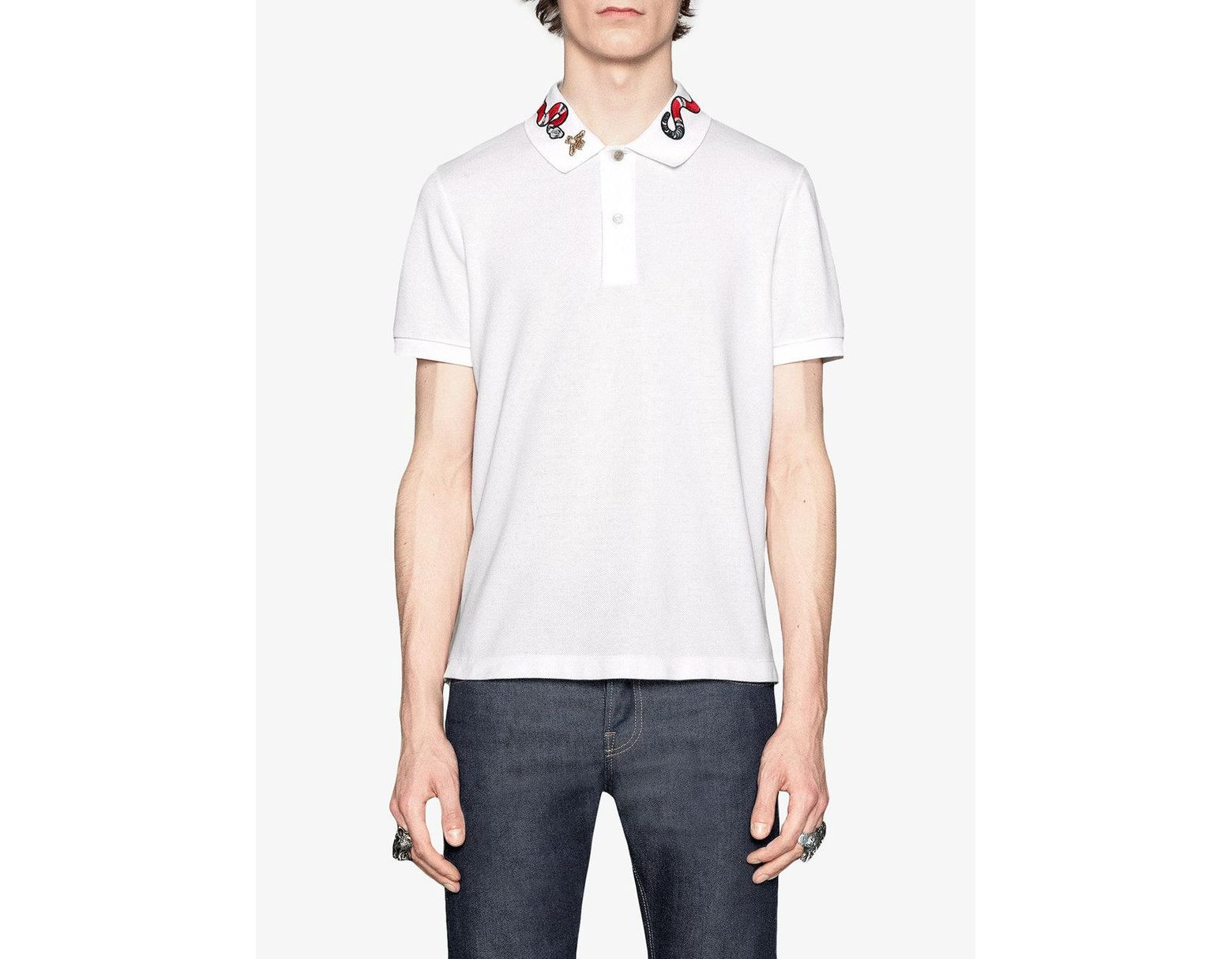 a7806e06 Gucci Kingsnake Embroidered Polo Shirt in White for Men - Save 7% - Lyst