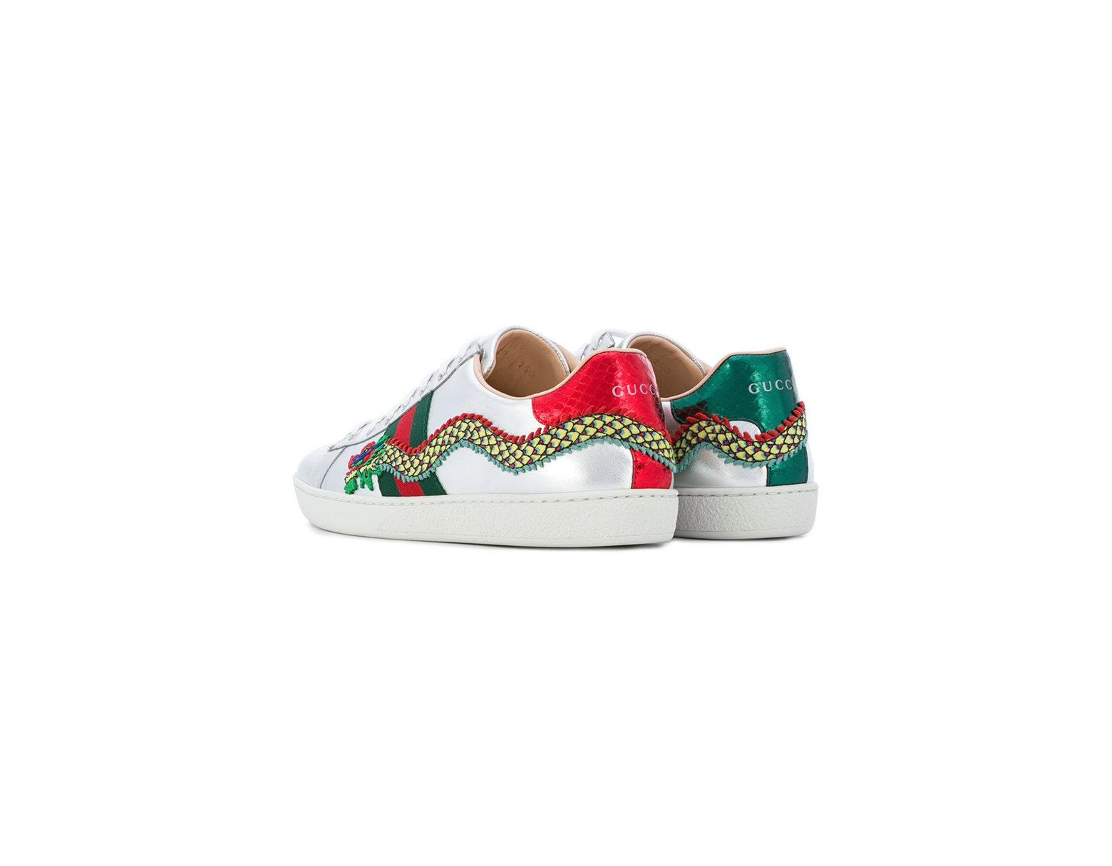 24ca2fc77 Gucci Ace Dragon Embroidered Sneakers in Metallic - Save 5% - Lyst