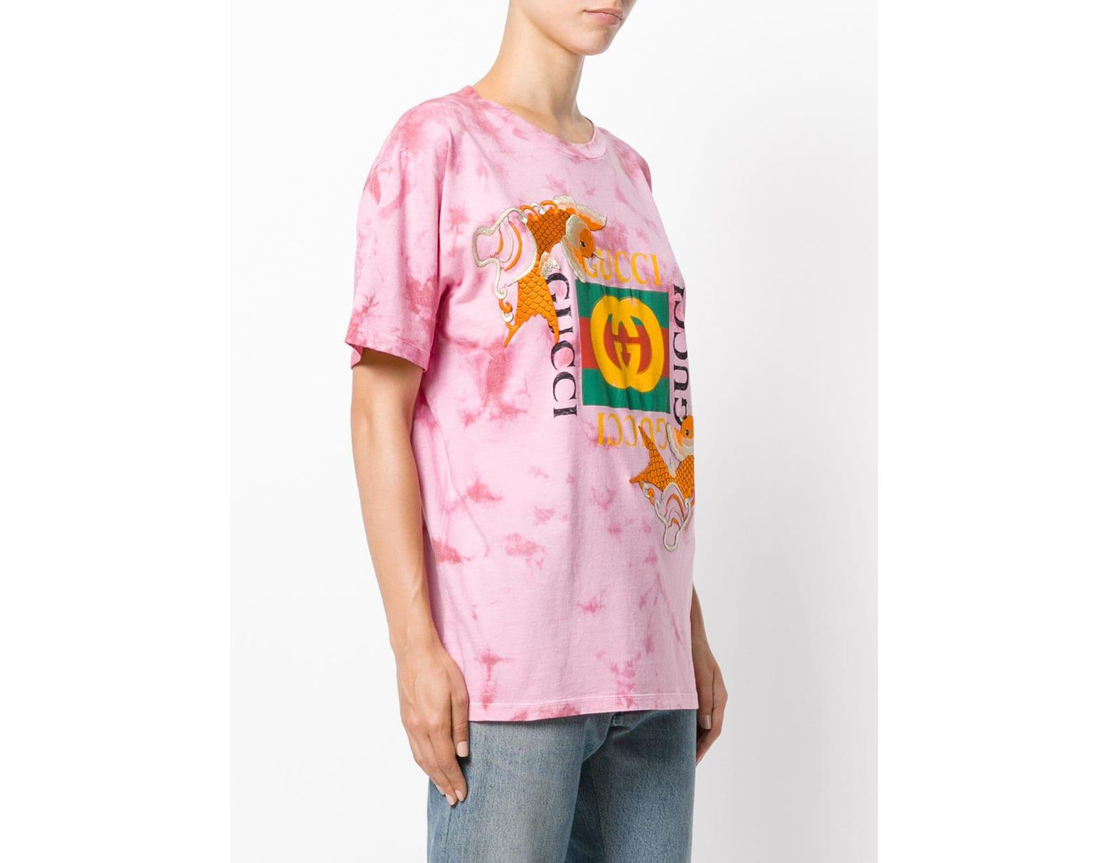 687a8254 Gucci Fish Embroidered Logo T-shirt in Pink - Save 22% - Lyst