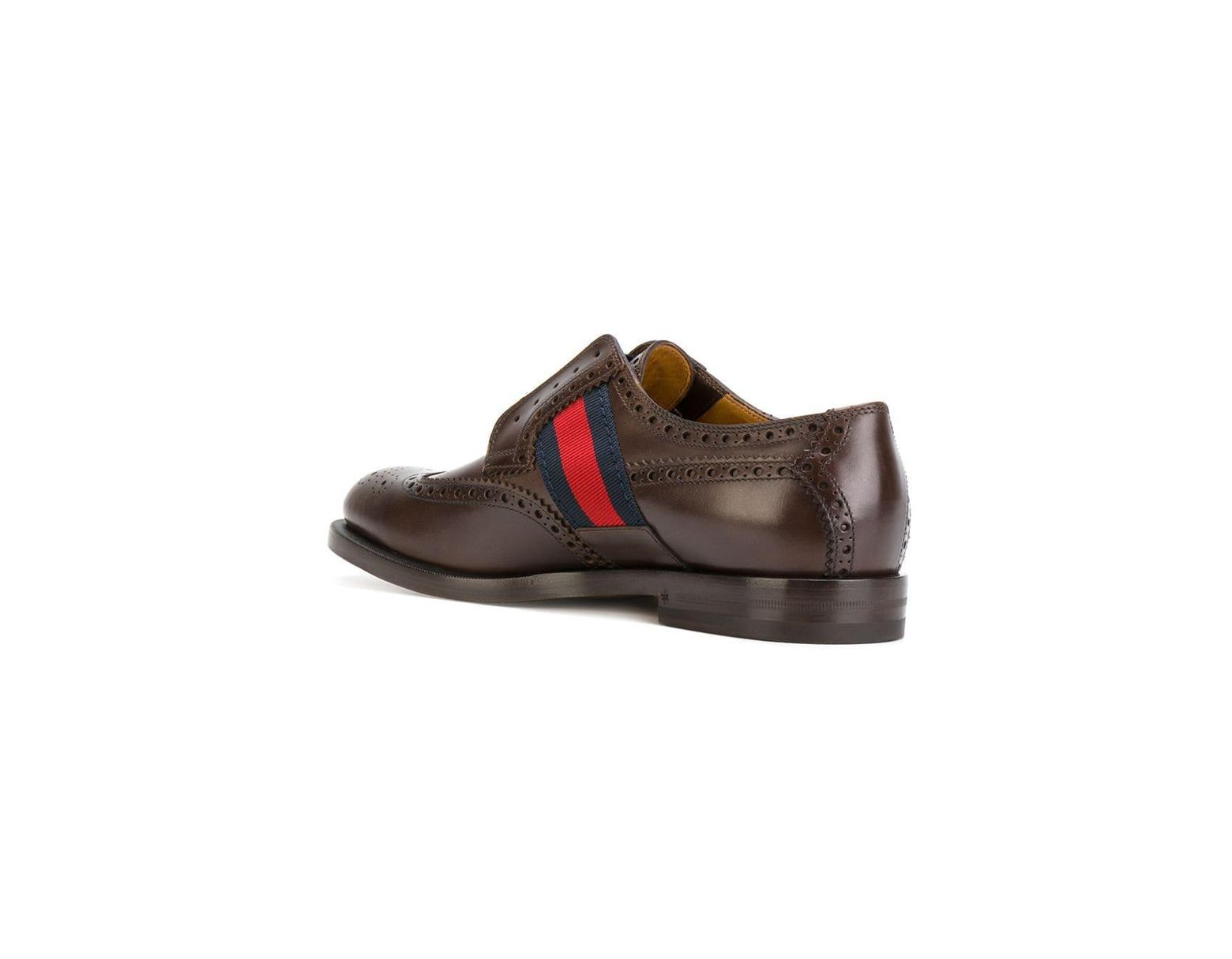 4860ba81f Gucci Bee GG Web Trim Brogues in Brown for Men - Lyst