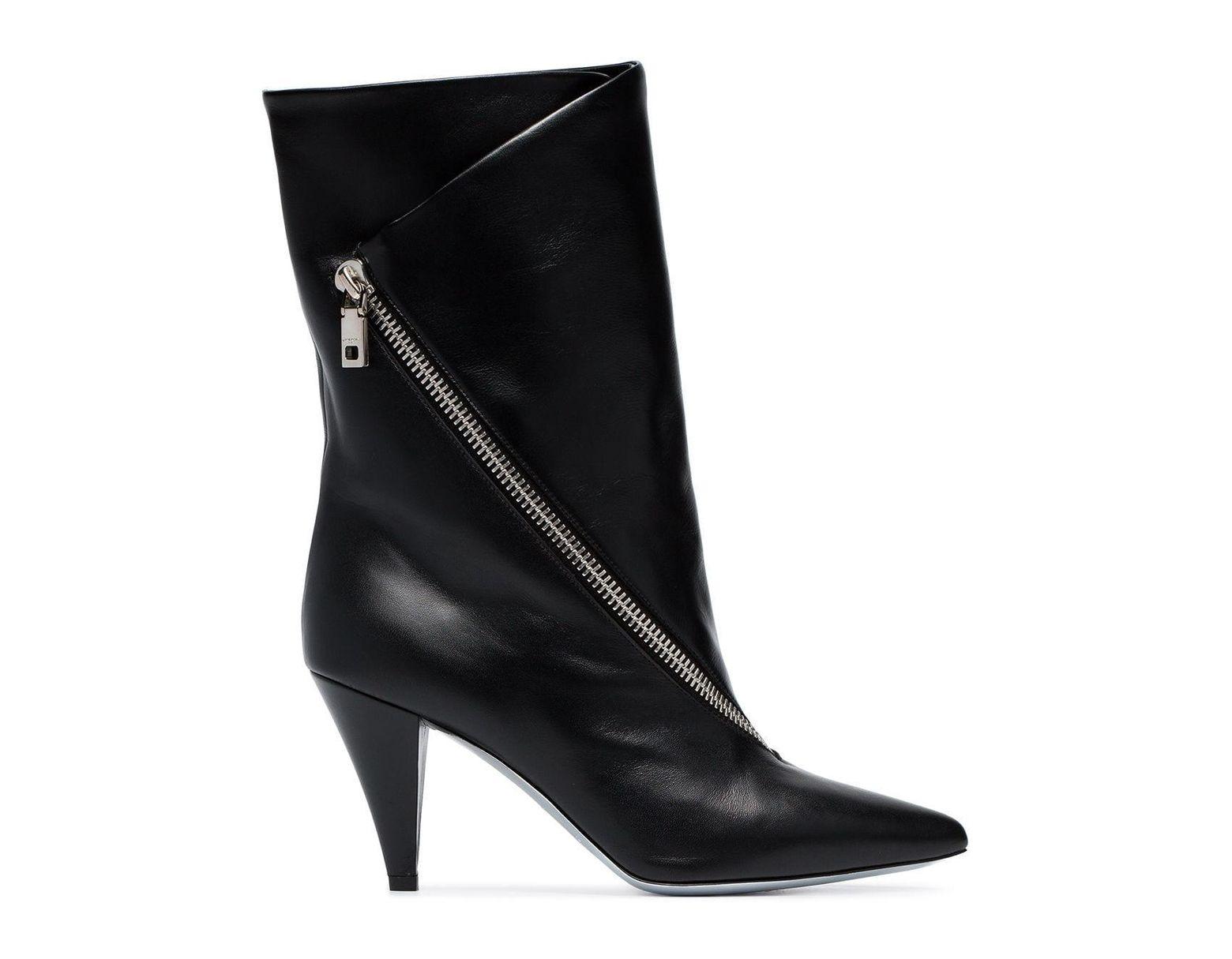 71d83d072d4 Women's Black Point Toe Leather Ankle Boots