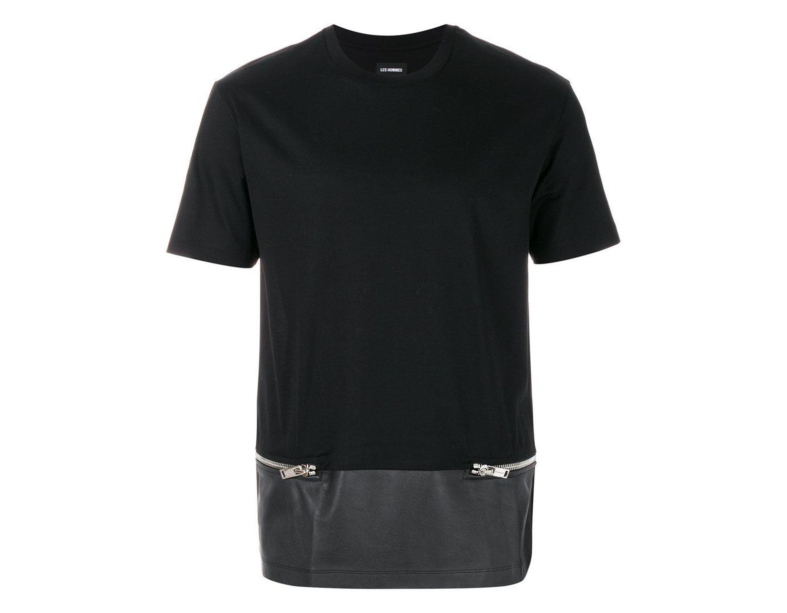 7a9a26d670b Lyst - Les Hommes Zip Embellished T-shirt in Black for Men