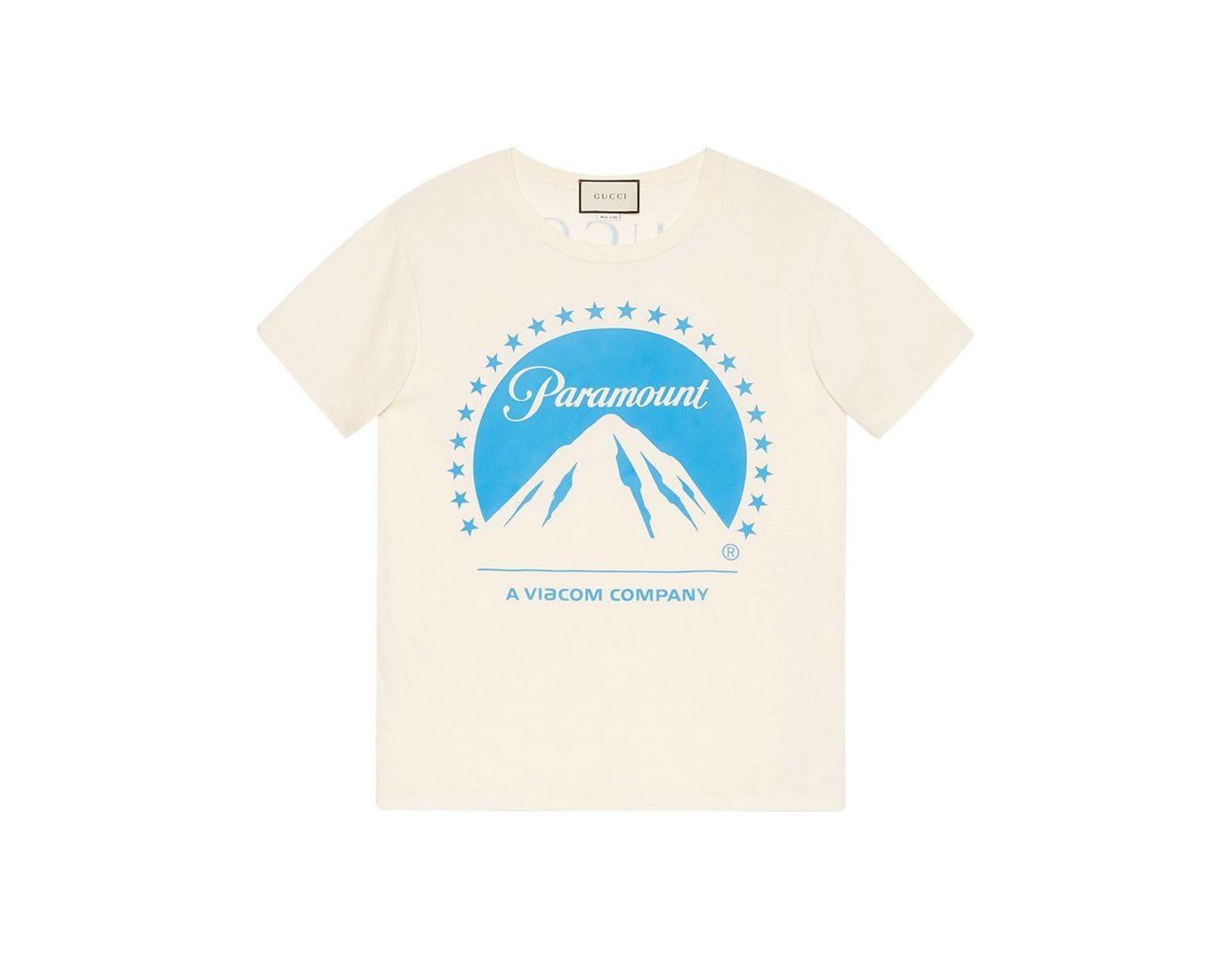 dd811790e Gucci Oversize T-shirt With Paramount Logo in White - Lyst