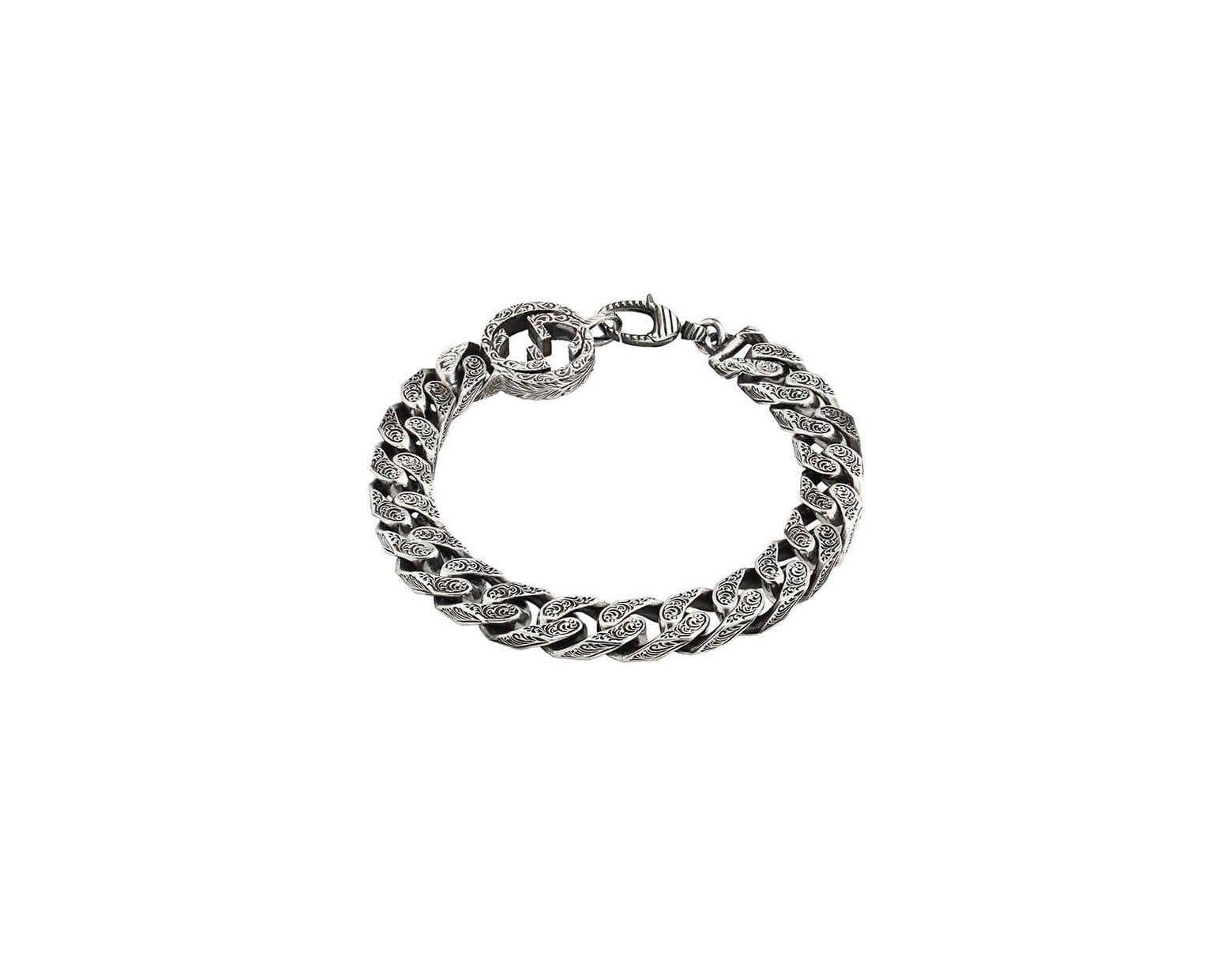7ed09f512a3 Men's Metallic Interlocking G Chain Bracelet In Silver