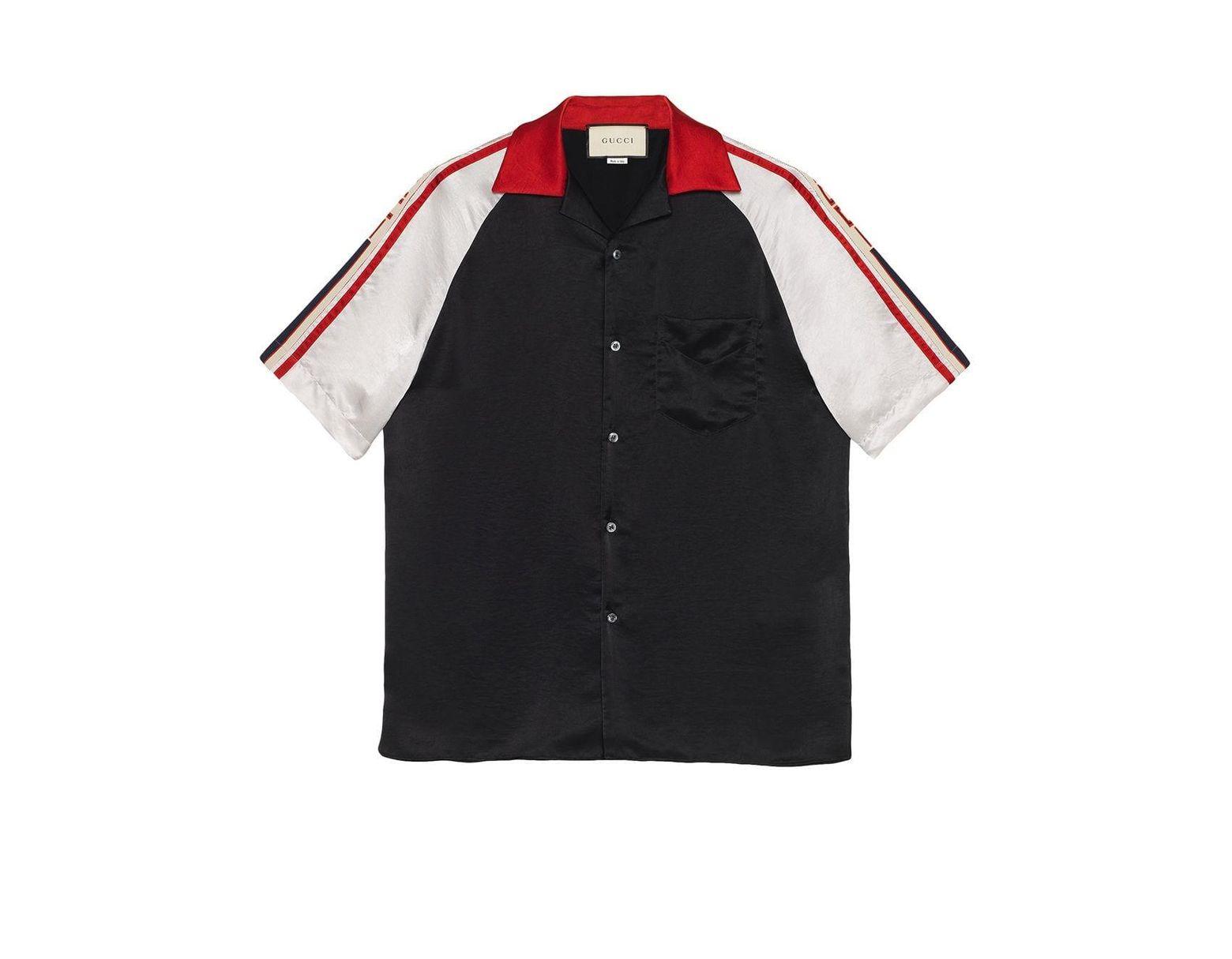 4d65533197 Men's Black Acetate Bowling Shirt With Stripe