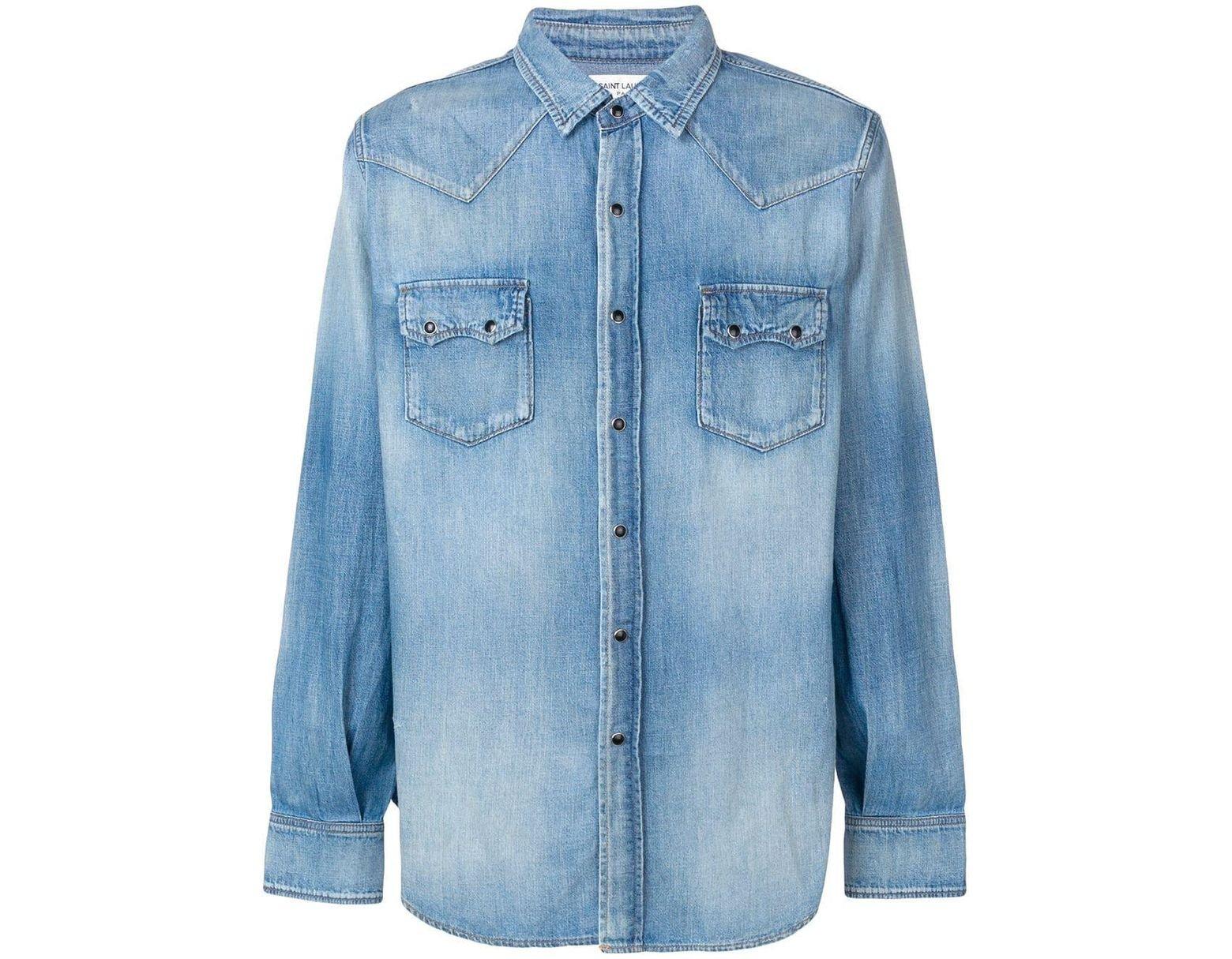 dab777710f Men's Blue Western-style Denim Shirt