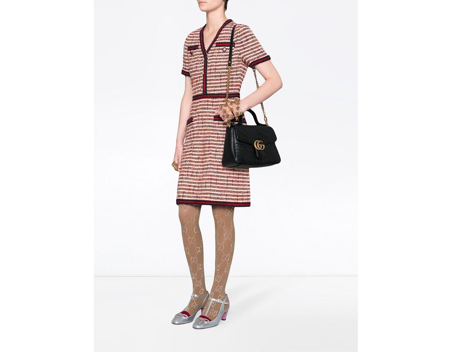 6b09cd97c05 Lyst - Gucci GG Marmont Medium Top Handle Bag in Black - Save 26%