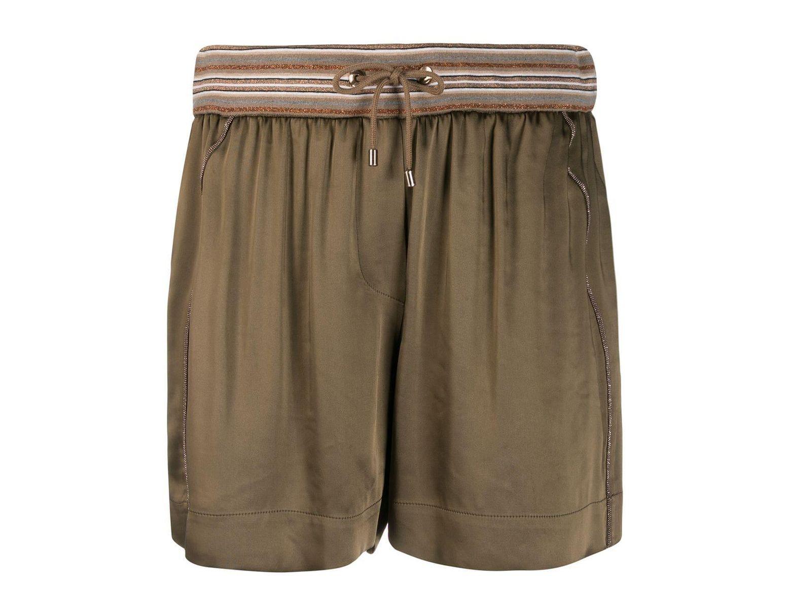 52a8d646052d Pantalones cortos con pliegues de mujer de color verde