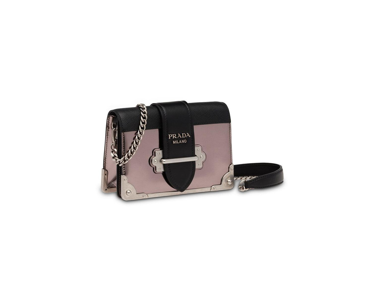 6ed7f85e085 Prada Grey, Black And Pink Cahier Mini Leather Shoulder Bag in Gray - Lyst