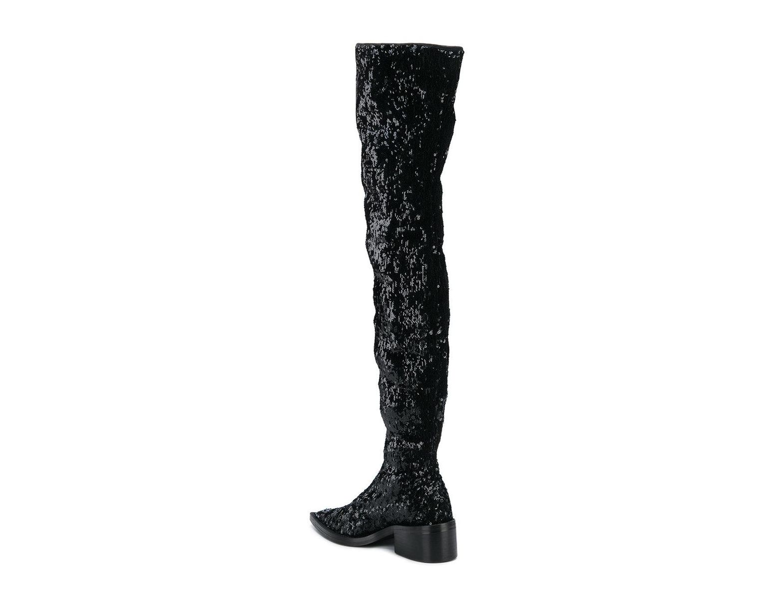 27da67885aed MM6 by Maison Martin Margiela Sequin Over The Knee Boots in Black - Lyst