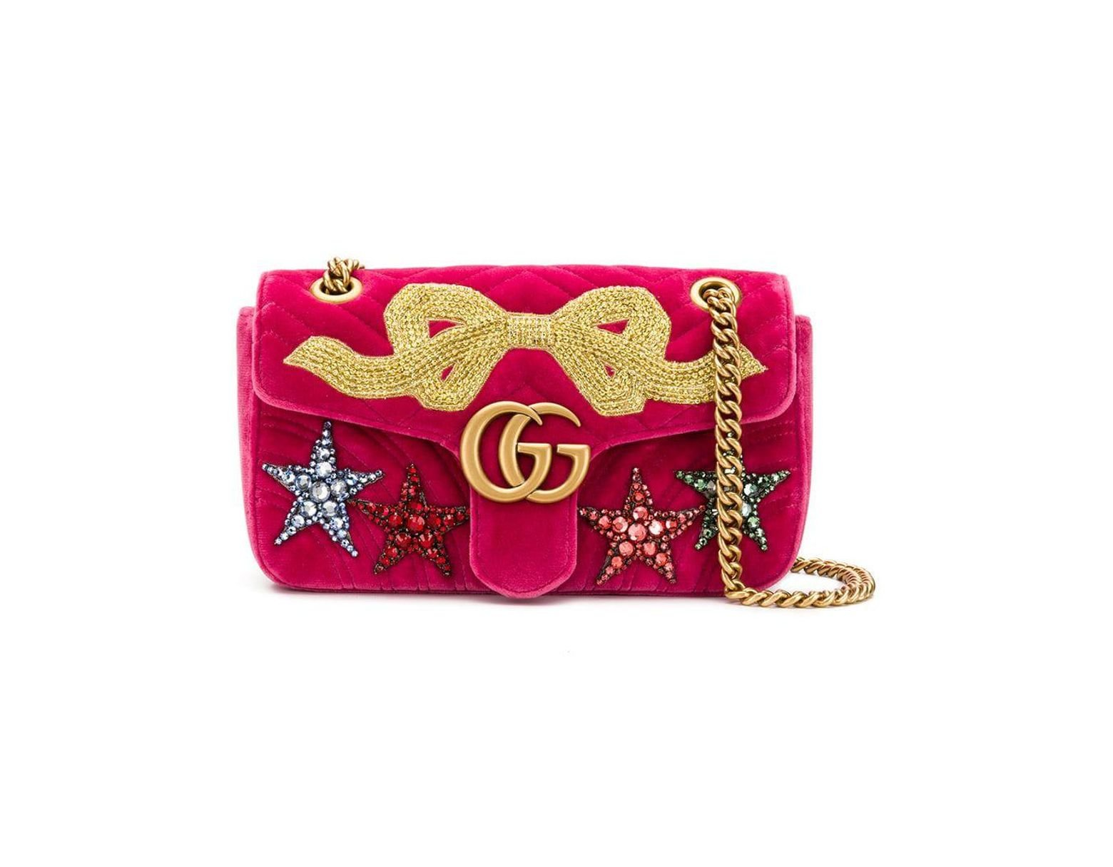 302d358699e Gucci GG Marmont Small Velvet Shoulder Bag in Pink - Lyst