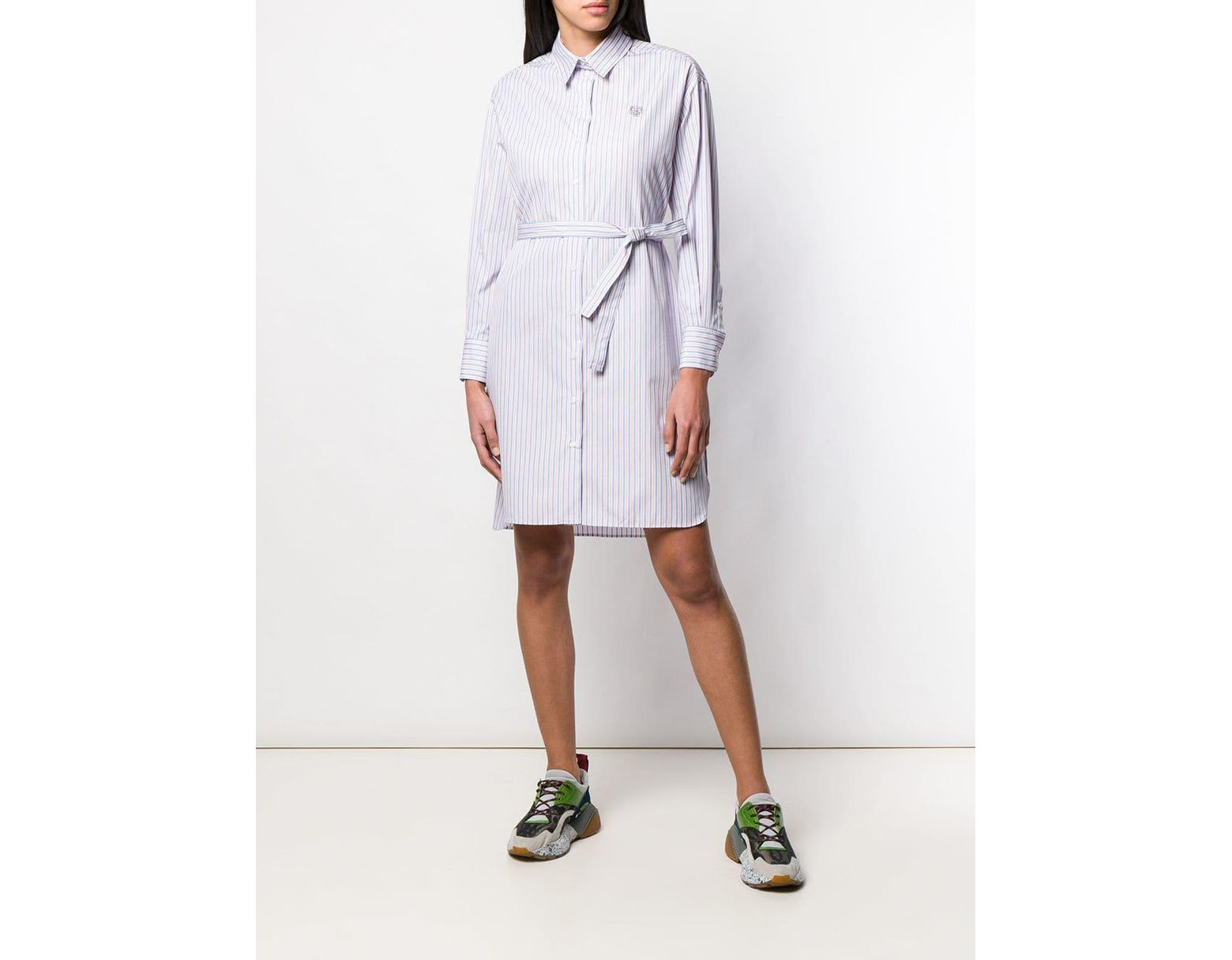 Robe Bleu De À Femme Rayures Chemise Coloris xBordeC
