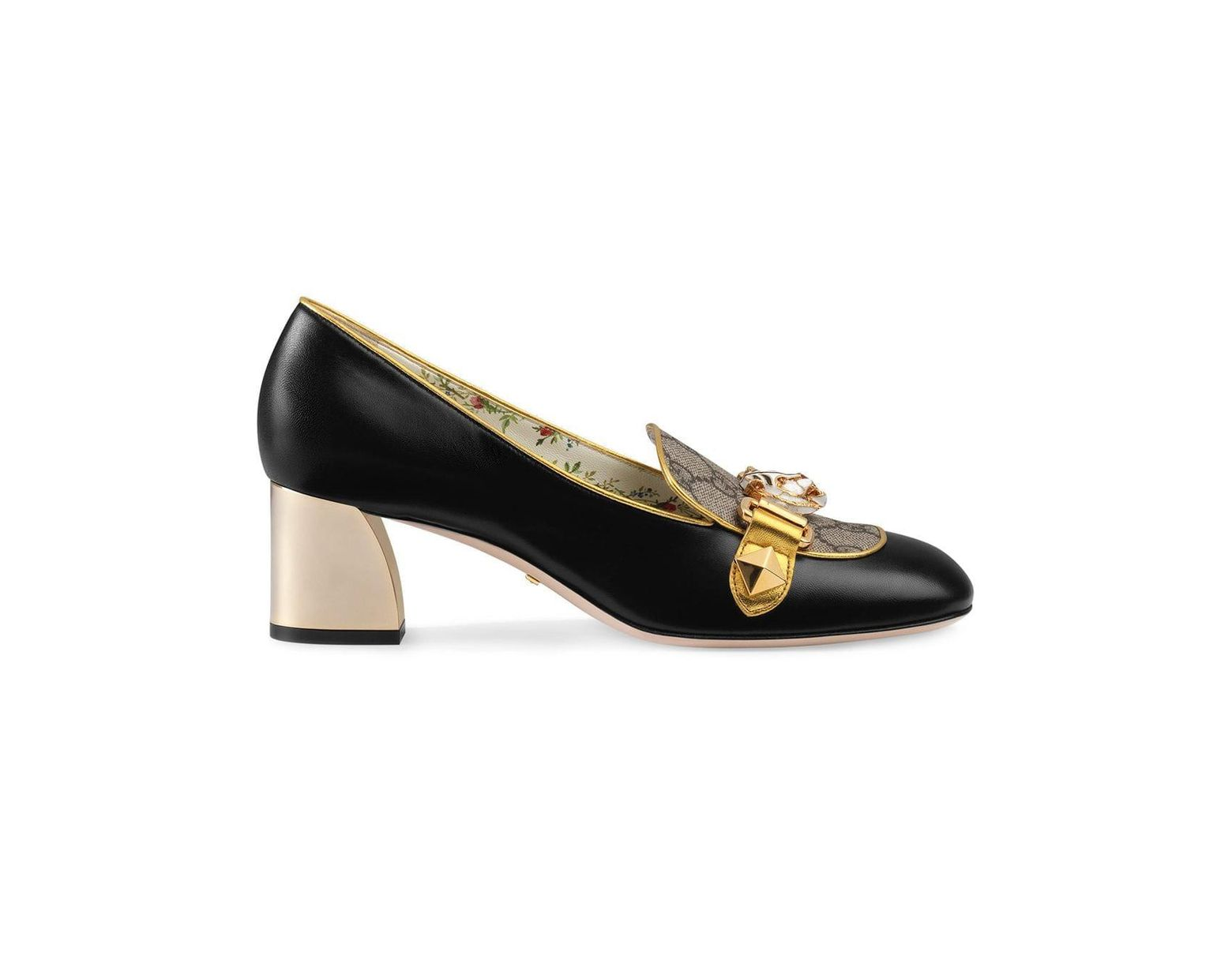 465772ef9 Gucci Leather And GG Supreme Mid-heel Pumps in Black - Lyst