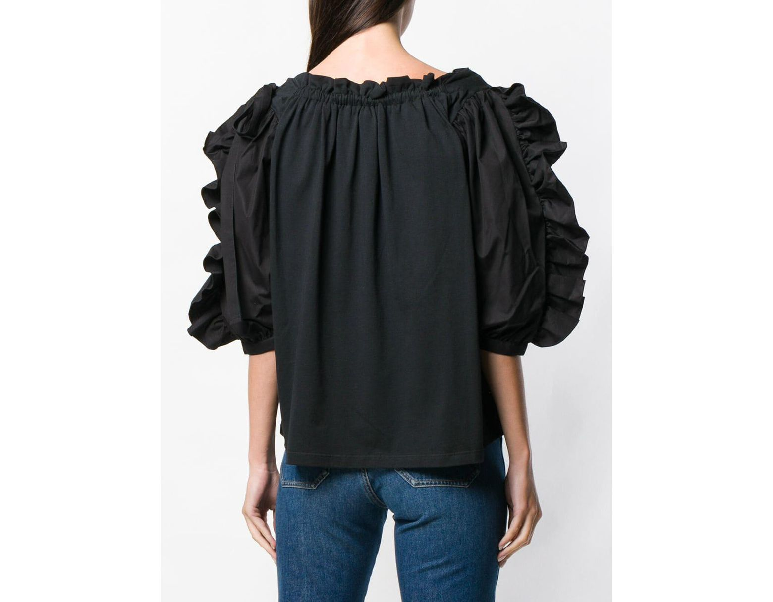 4f79890fae Women's Black Frilled Blouse