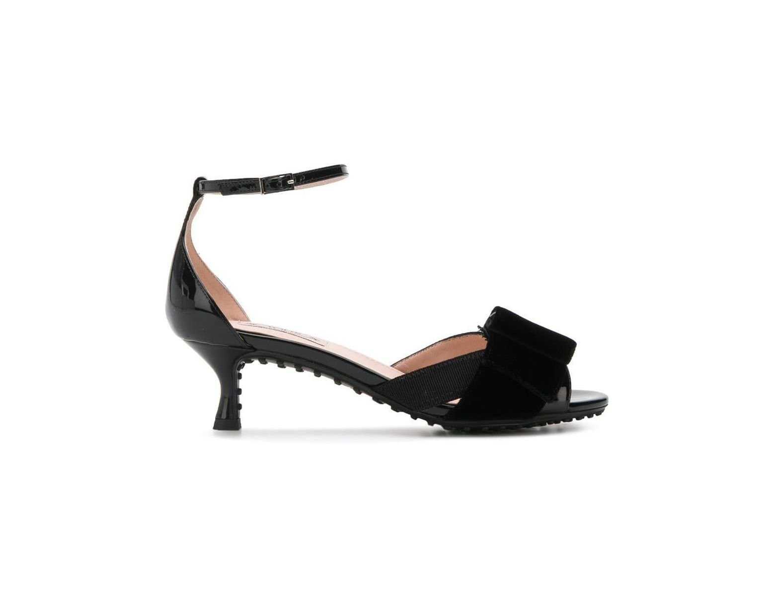 Bow With Ribbon Sandals Detail Black Women's A WI9YE2eDH