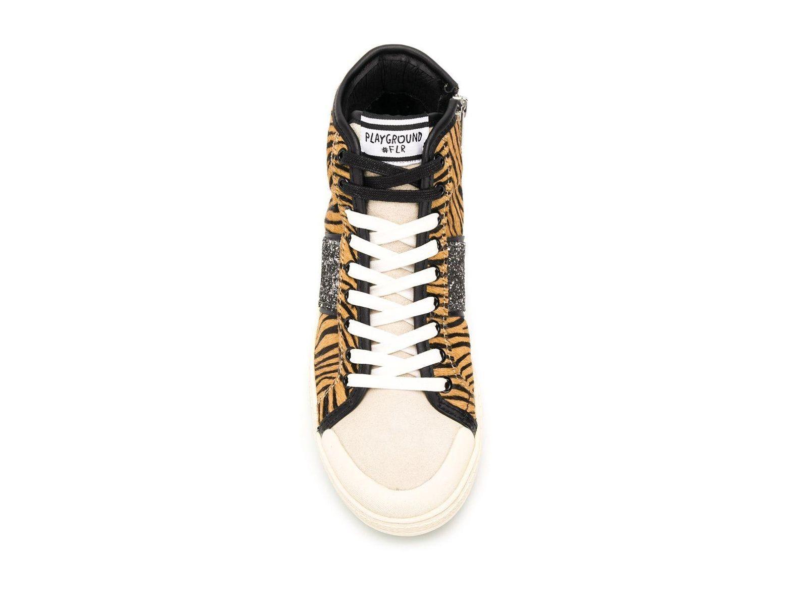 the latest 85bde fbb6e Women's Tiger Print Hi-top Sneakers