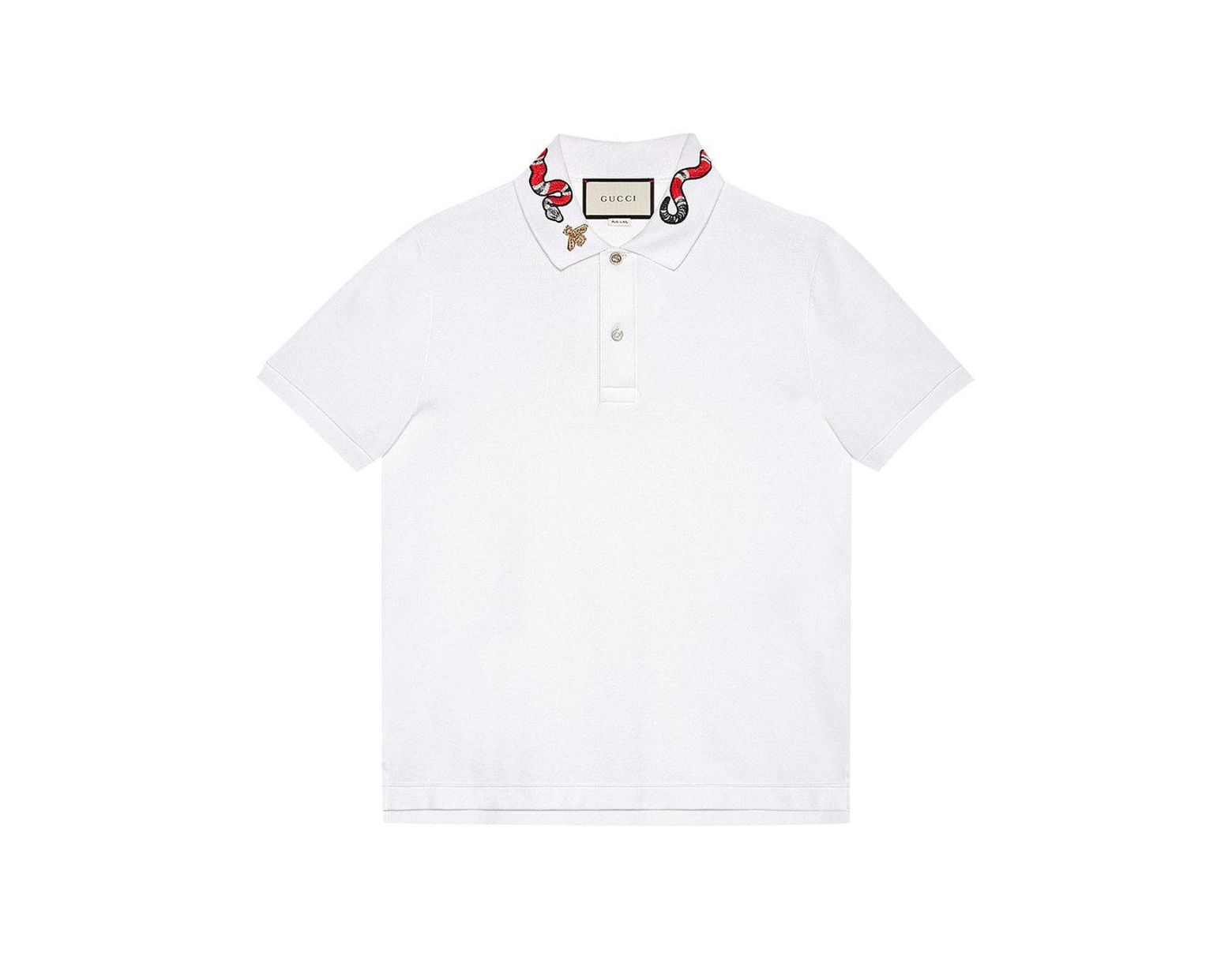 84820eb9cca Gucci Kingsnake Embroidered Polo Shirt in White for Men - Save 1% - Lyst