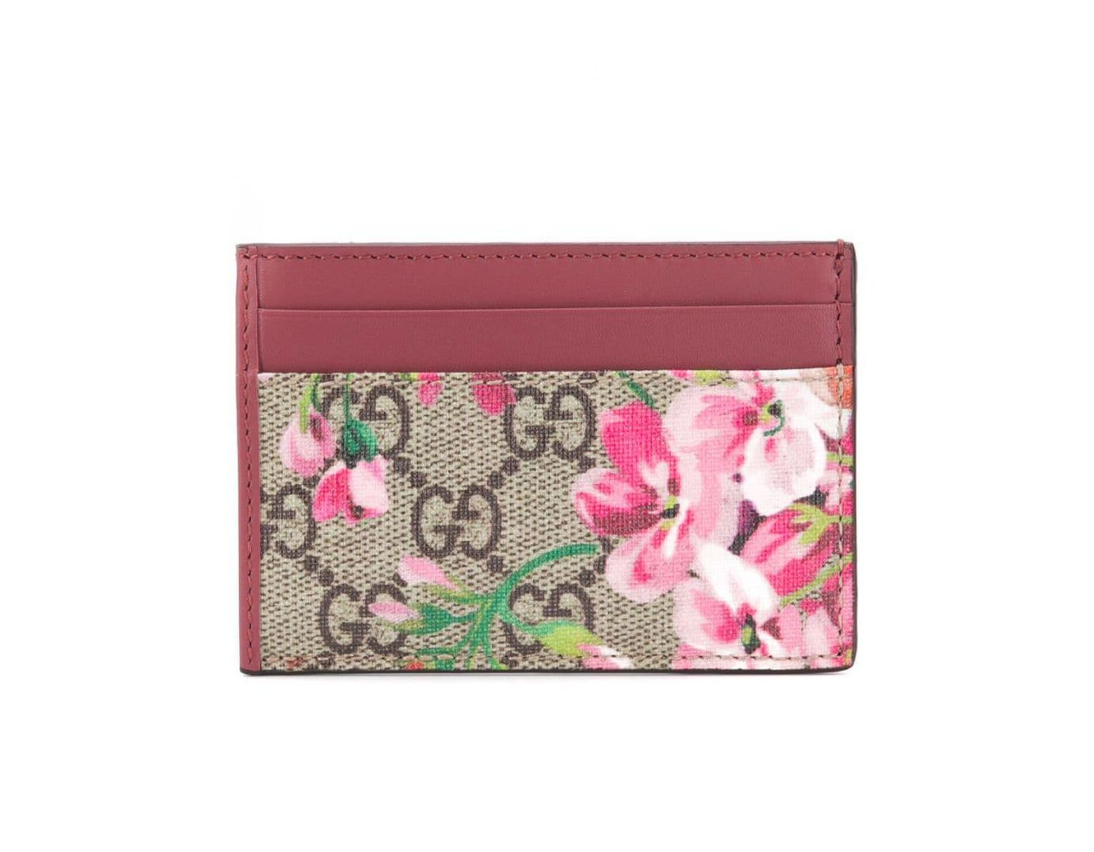 fe6437760796 Gucci GG Blooms Card Case in Red - Lyst