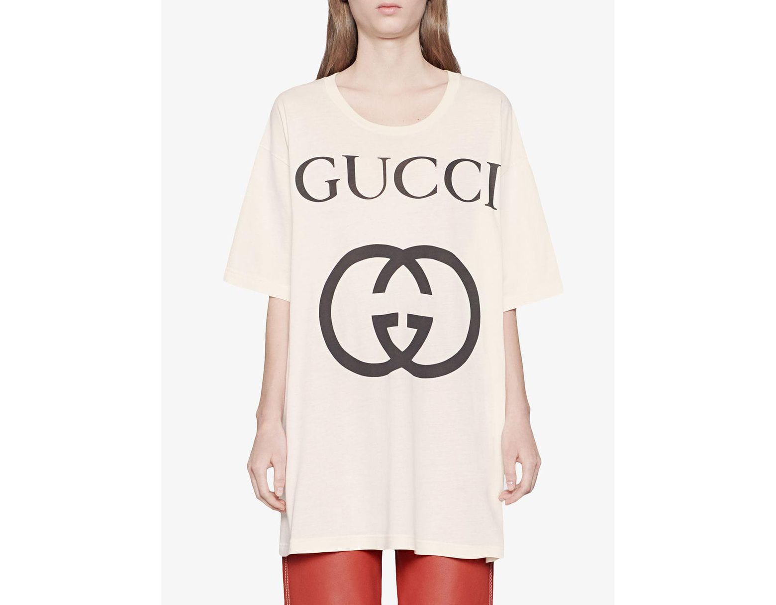 52d217aca Gucci Oversize T-shirt With Interlocking G in White - Save 33% - Lyst