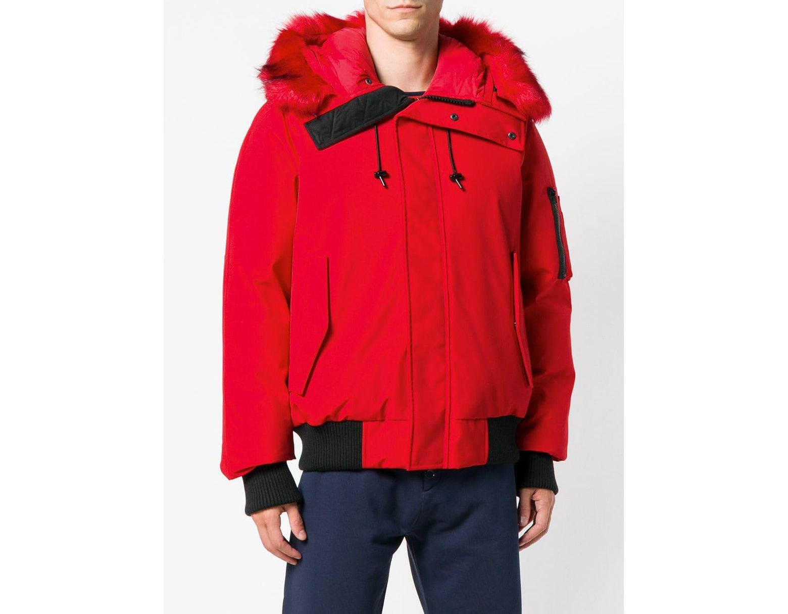 600a4b91a Men's Red Faux Fur Trimmed Puffer Jacket