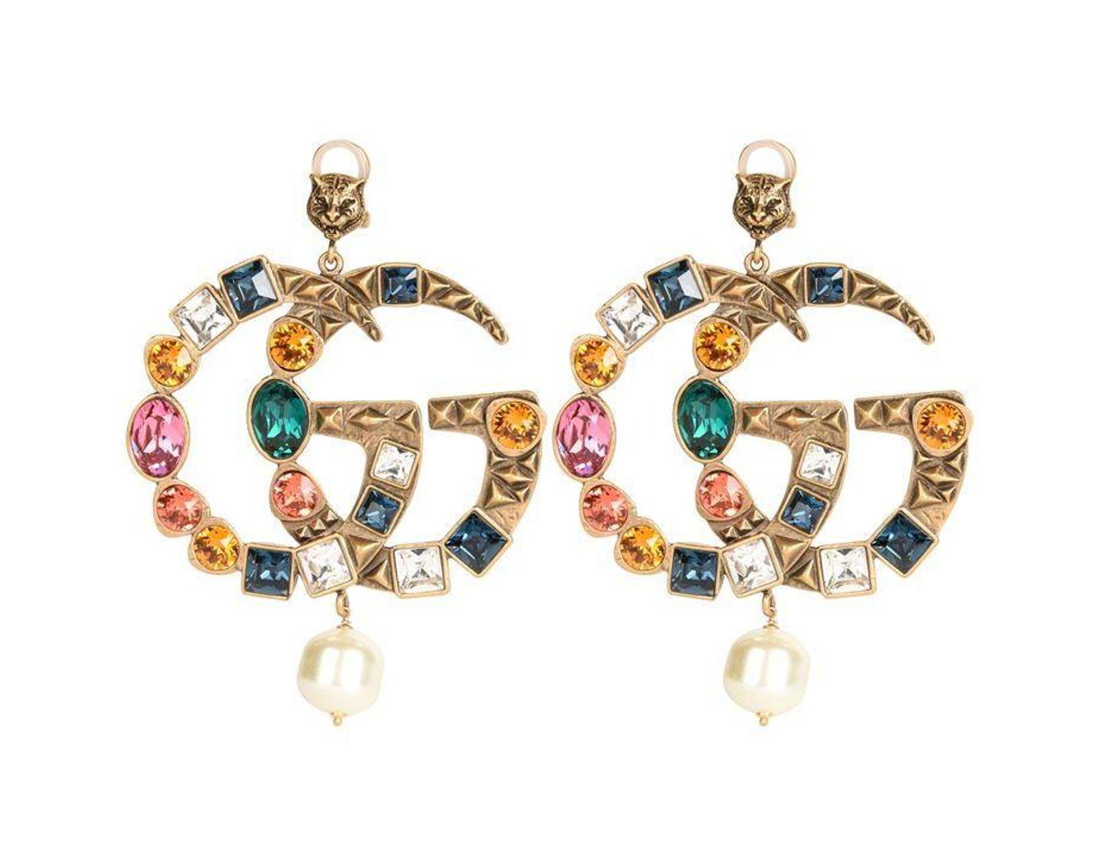 852ffd67d Gucci Crystal Gg Earrings in Metallic - Lyst